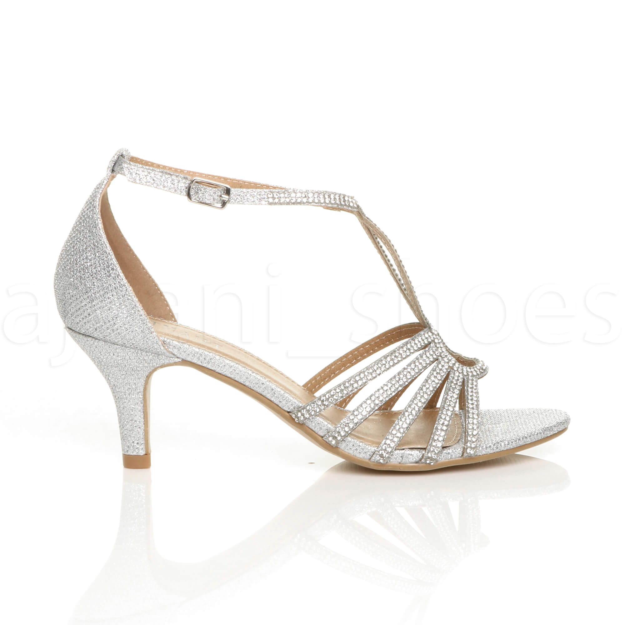 WOMENS-LADIES-MID-HEEL-STRAPPY-DIAMANTE-WEDDING-EVENING-T-BAR-SANDALS-SHOES-SIZE thumbnail 21