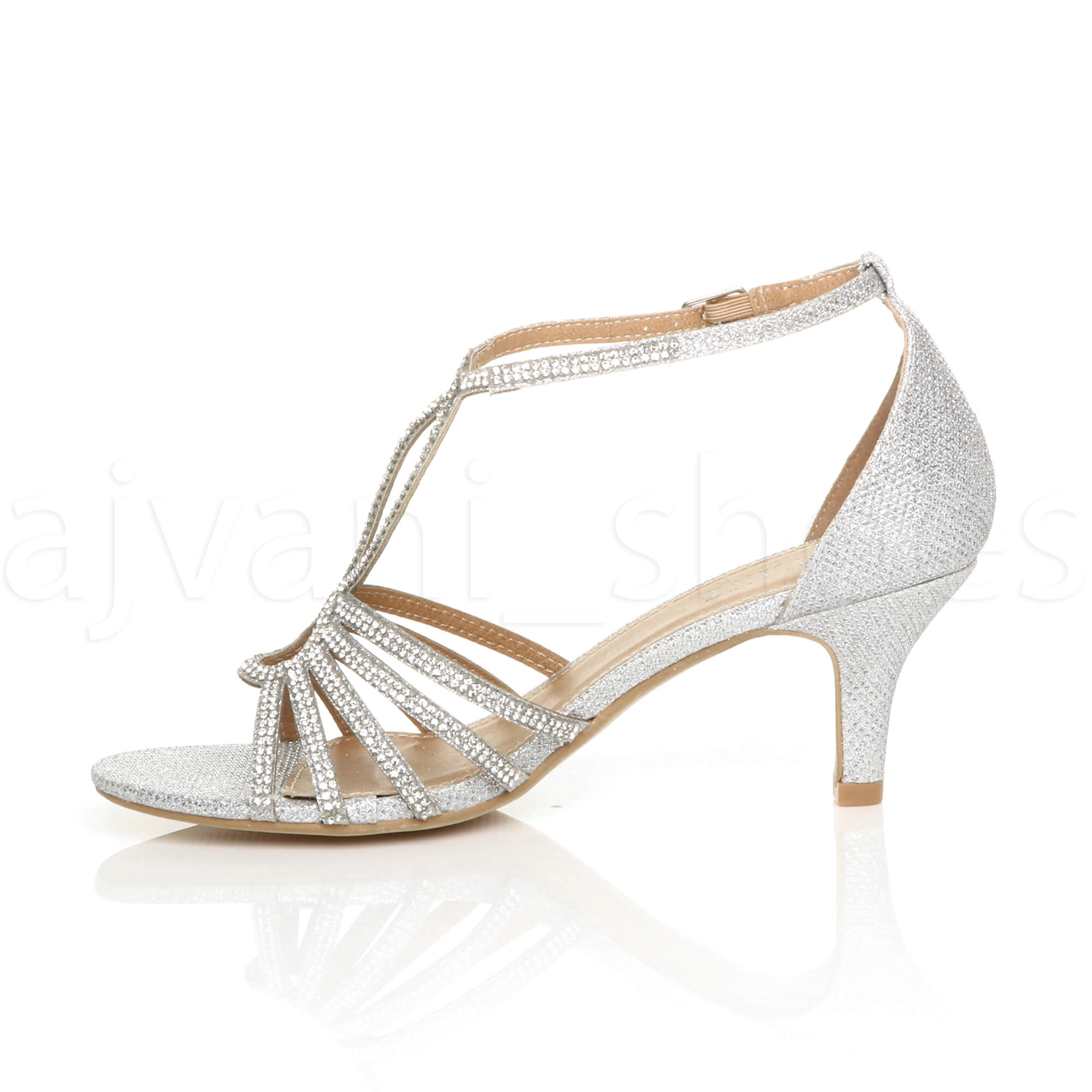 WOMENS-LADIES-MID-HEEL-STRAPPY-DIAMANTE-WEDDING-EVENING-T-BAR-SANDALS-SHOES-SIZE thumbnail 22