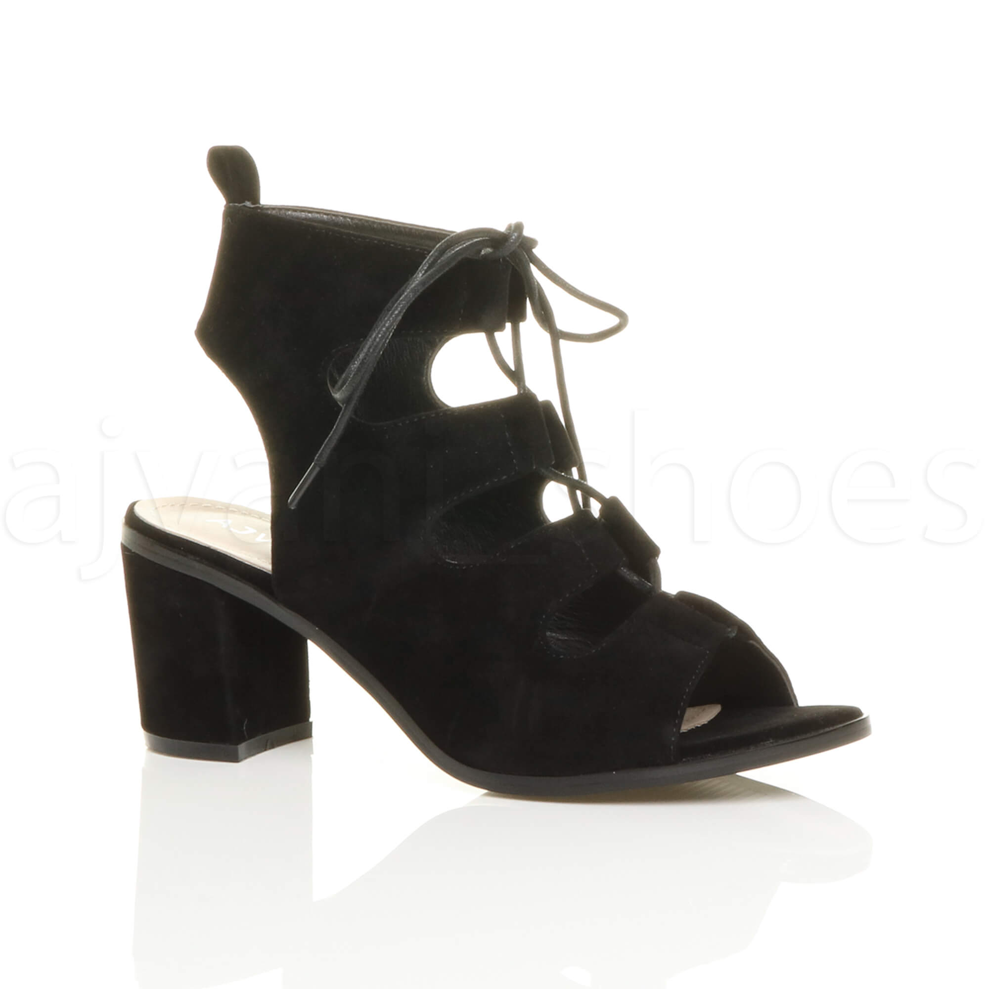 WOMENS-LADIES-MID-HEEL-CUT-OUT-GHILLIE-LACE-UP-PEEP-TOE-ANKLE-BOOTS-SANDALS-SIZE