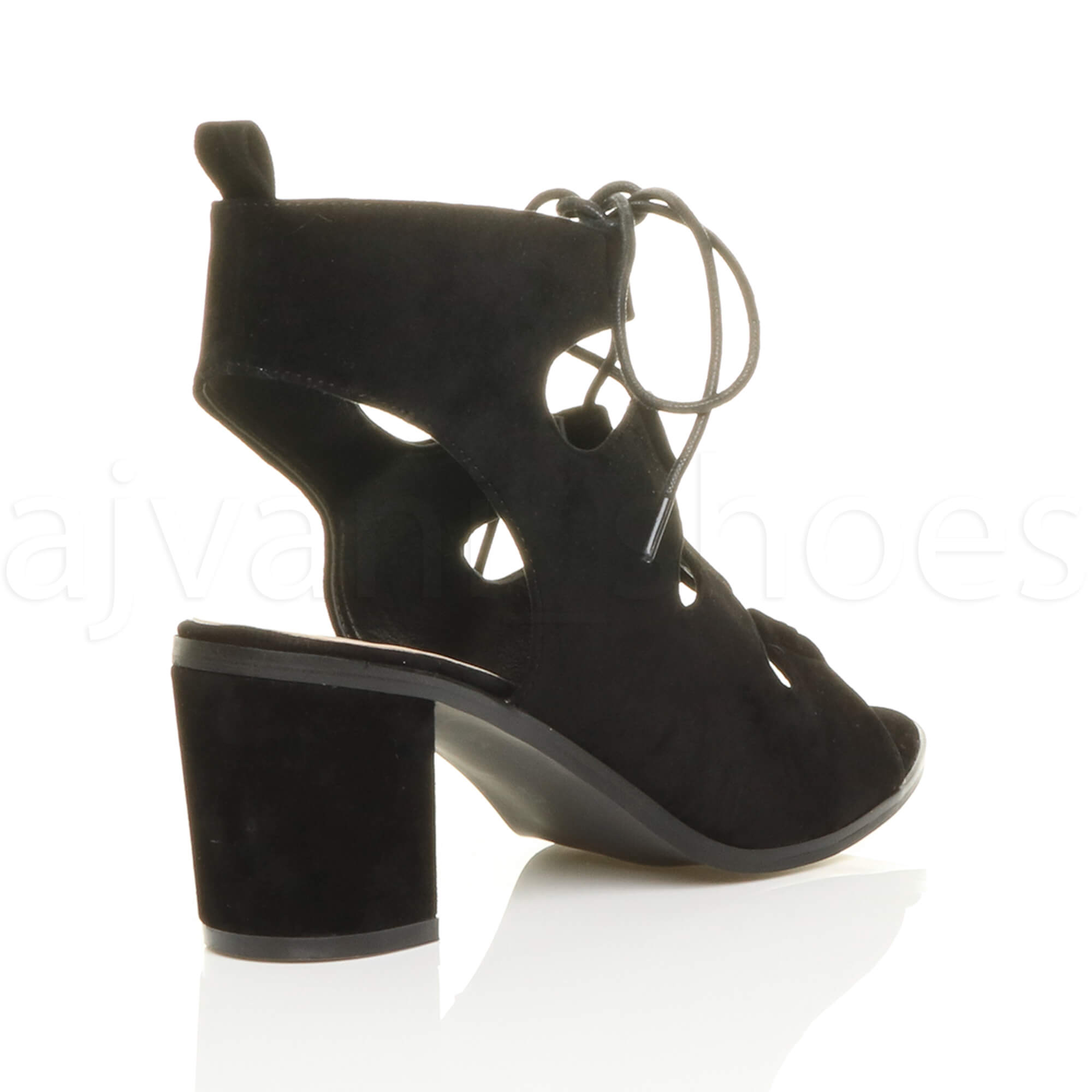 womens mid heel cut out ghillie lace up peep toe
