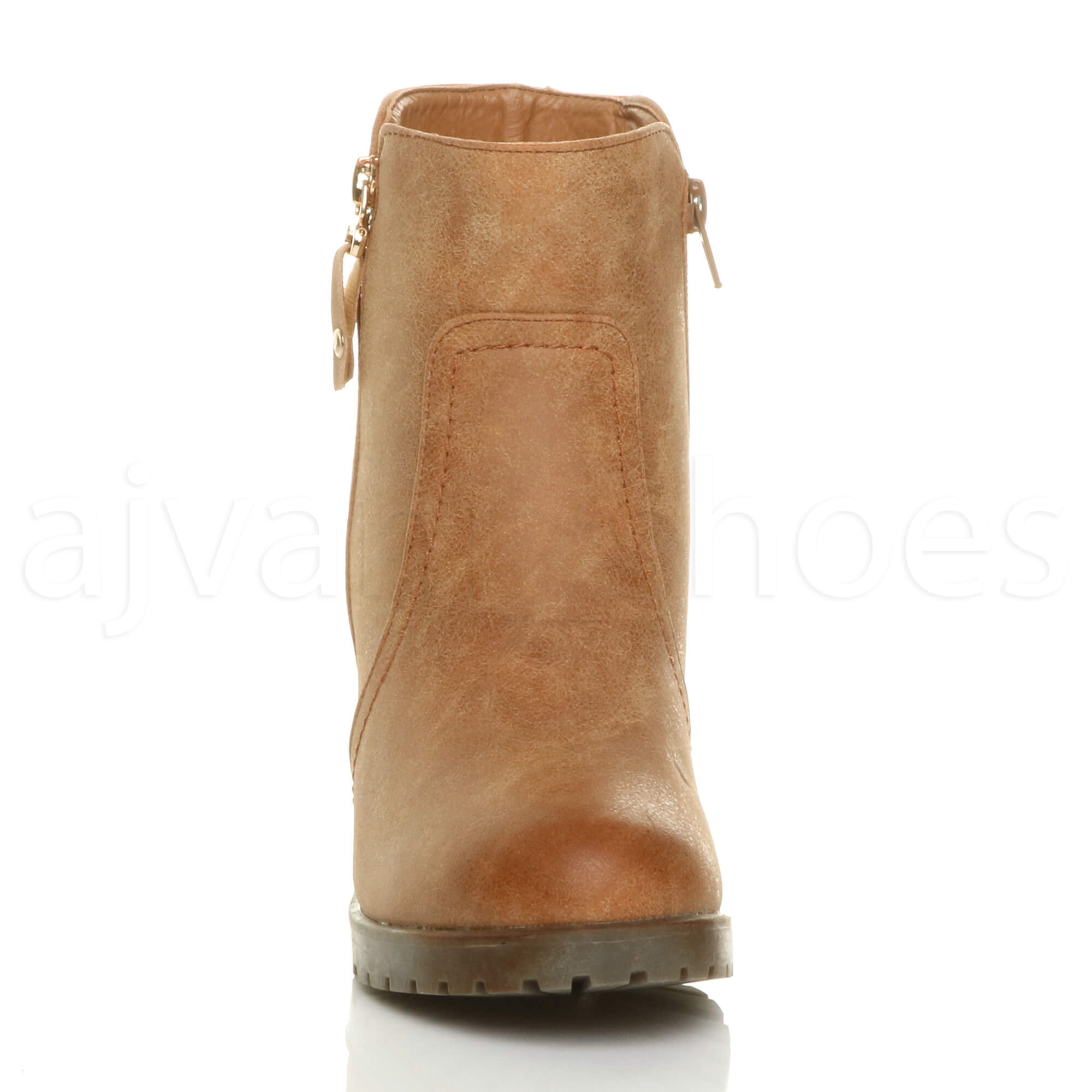 WOMENS-LADIES-HIGH-BLOCK-HEEL-GOLD-ZIP-DISTRESSED-BIKER-RIDING-ANKLE-BOOTS-SIZE