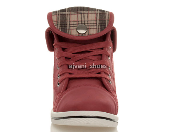 WOMENS-LADIES-FLAT-CUFF-LACE-UP-ANKLE-HIGH-HI-TOP-PUMPS-TRAINERS-SHOES-SIZE