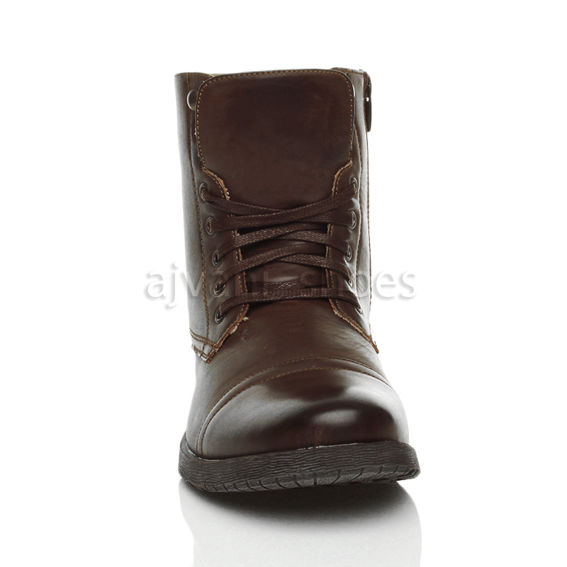 MENS LOW HEEL MILITARY BIKER LACE UP ZIP ARMY COMBAT ANKLE BOOTS SHOES SIZE   eBay