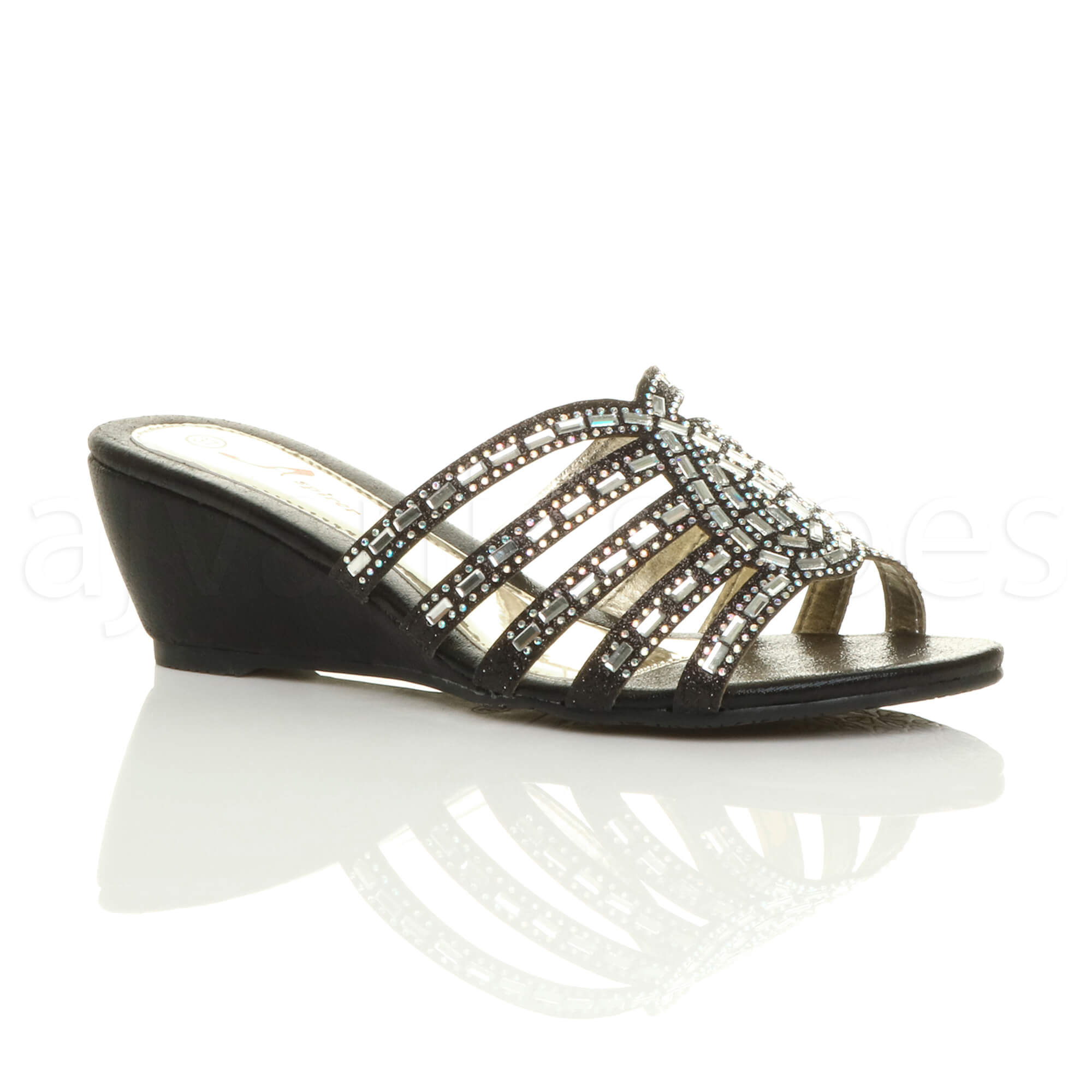 Black Evening Shoes Womens Diamante