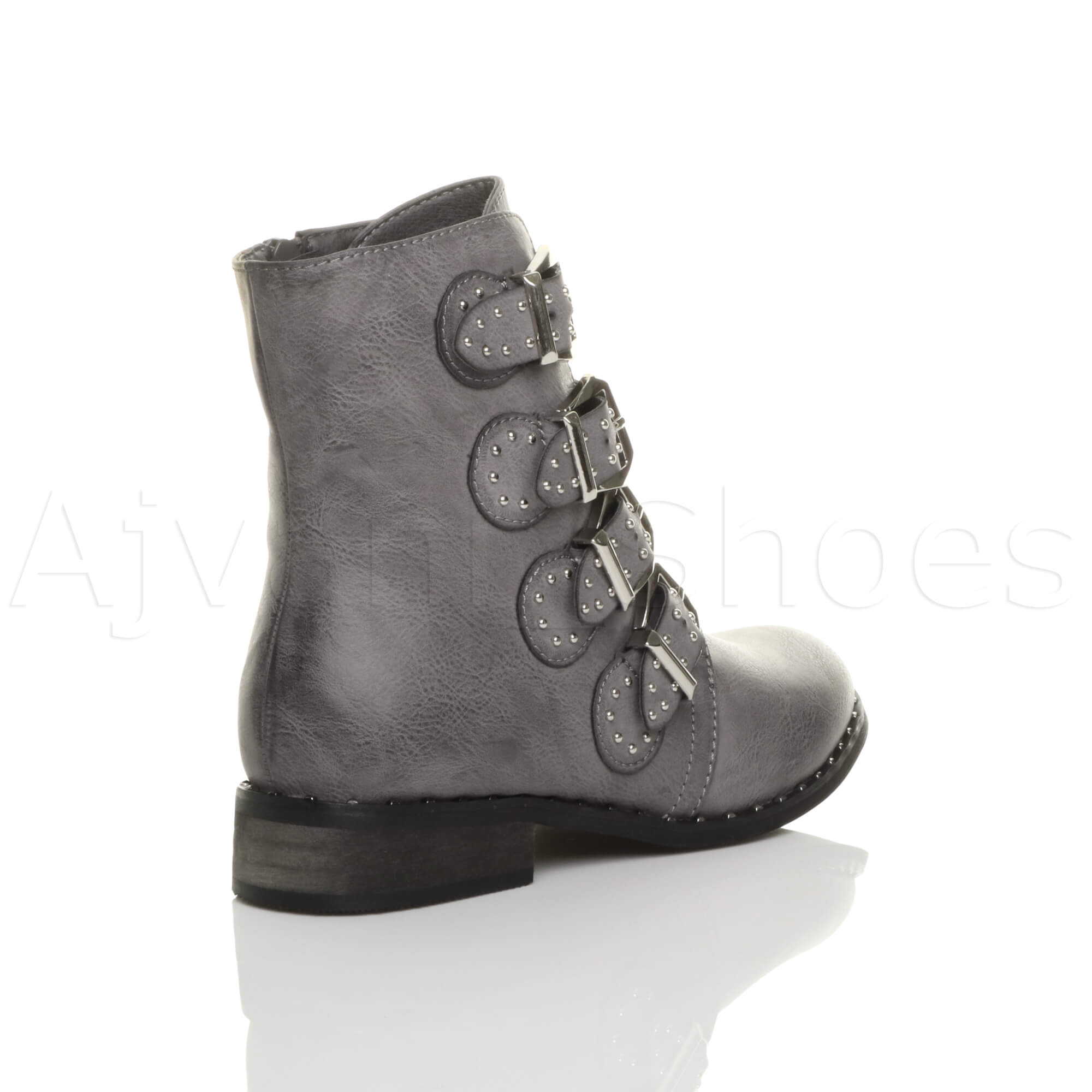 WOMENS-LADIES-BLOCK-LOW-HEEL-STUDDED-BUCKLE-STRAP-WESTERN-BIKER-ANKLE-BOOTS-SIZE