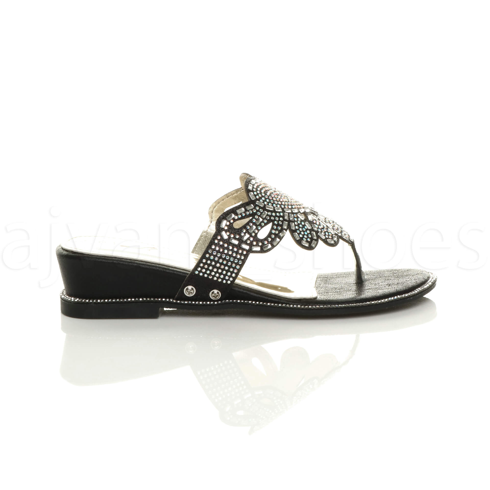 WOMENS-LADIES-LOW-MID-WEDGE-HEEL-DIAMANTE-EVENING-TOE-POST-SANDALS-MULES-SIZE thumbnail 3
