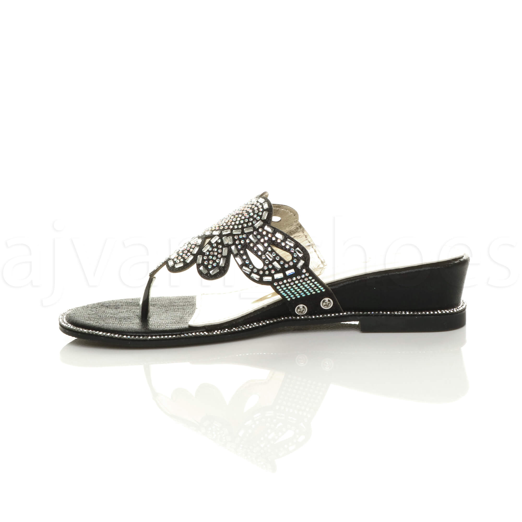 WOMENS-LADIES-LOW-MID-WEDGE-HEEL-DIAMANTE-EVENING-TOE-POST-SANDALS-MULES-SIZE thumbnail 4