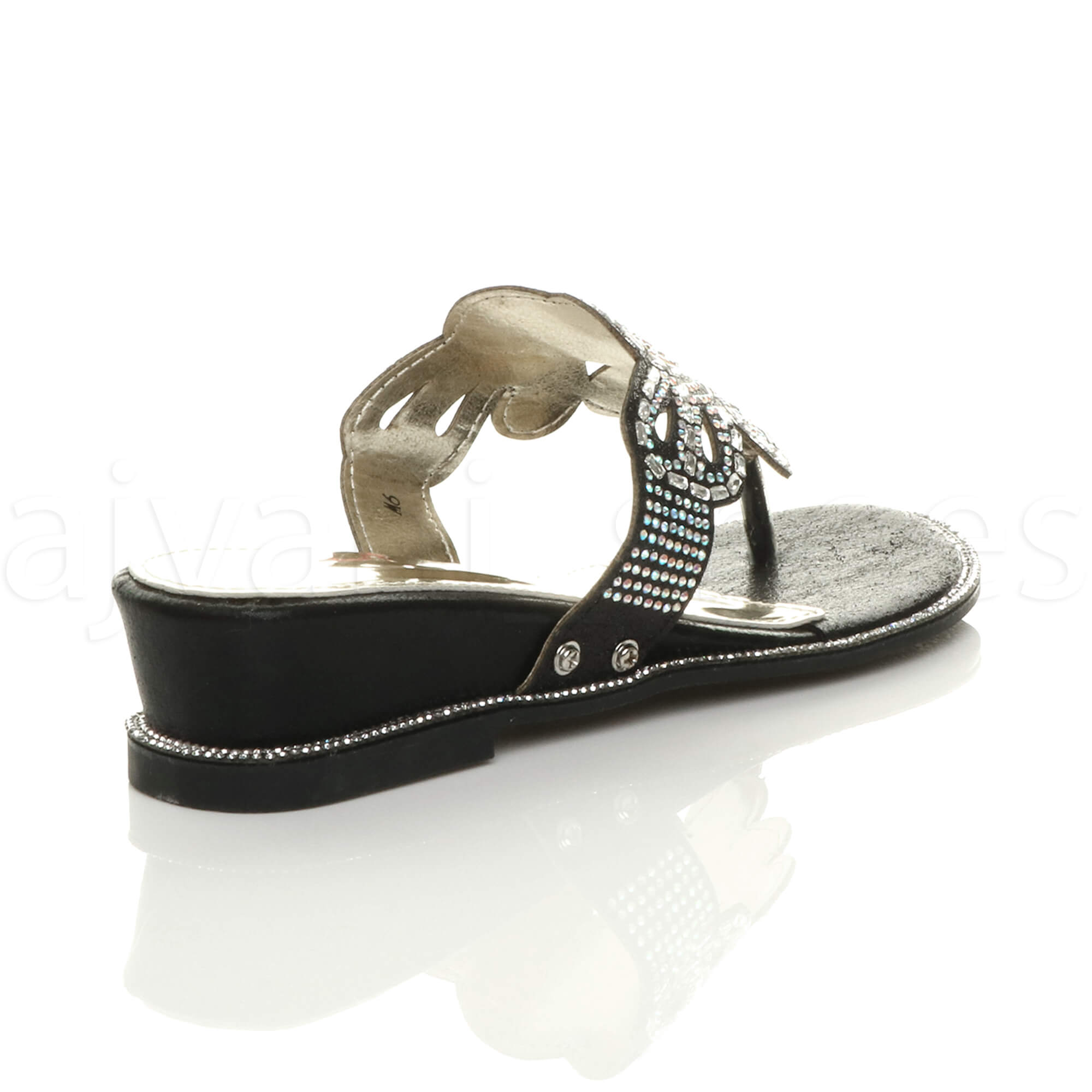 WOMENS-LADIES-LOW-MID-WEDGE-HEEL-DIAMANTE-EVENING-TOE-POST-SANDALS-MULES-SIZE thumbnail 5