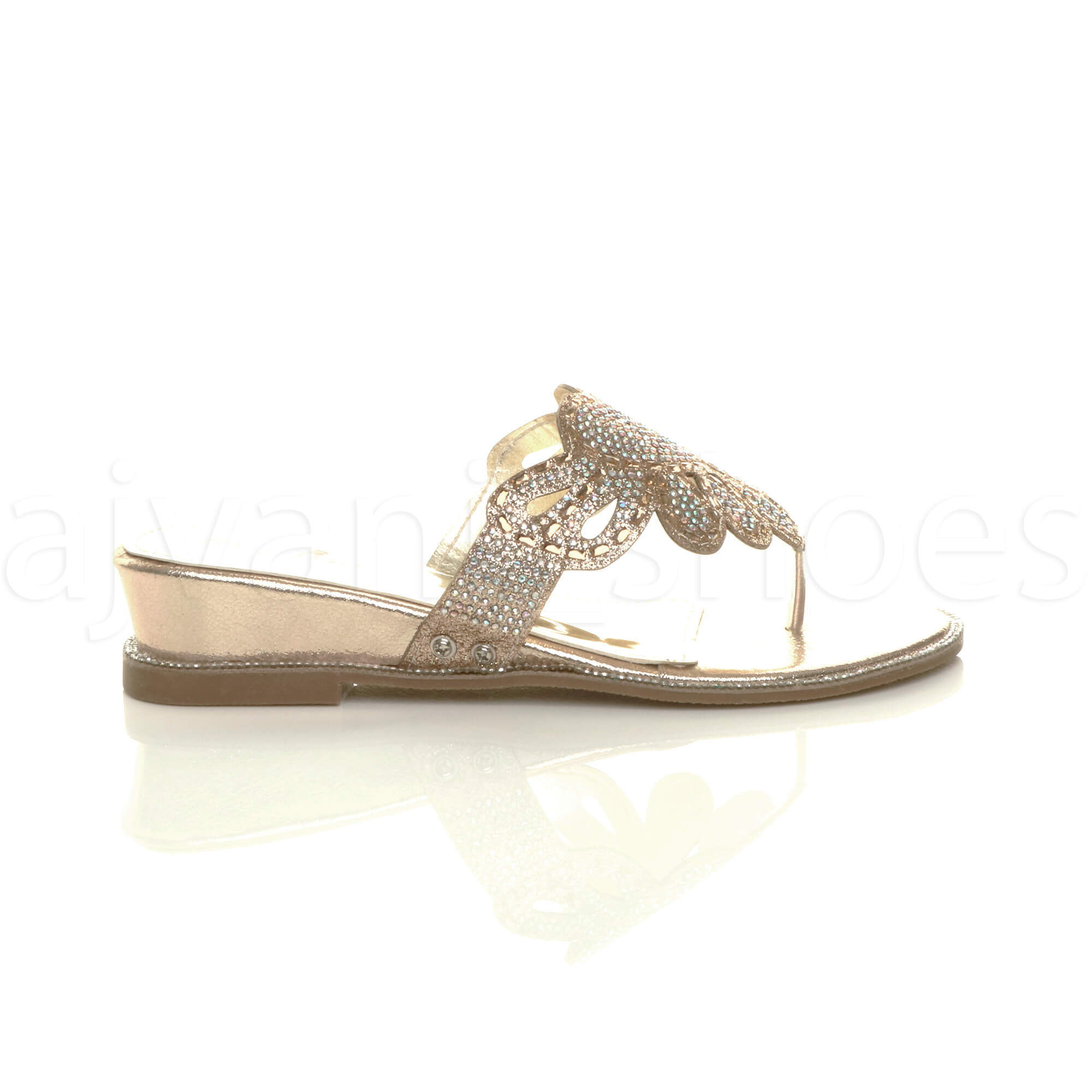 WOMENS-LADIES-LOW-MID-WEDGE-HEEL-DIAMANTE-EVENING-TOE-POST-SANDALS-MULES-SIZE thumbnail 11