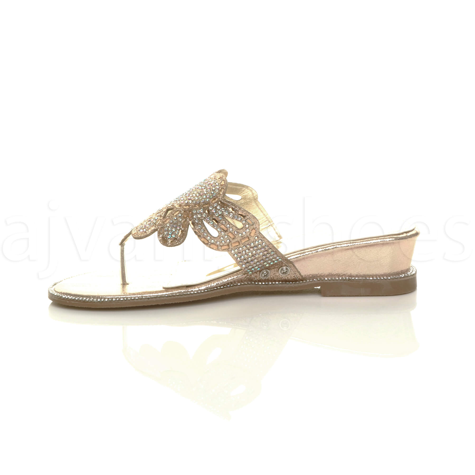 WOMENS-LADIES-LOW-MID-WEDGE-HEEL-DIAMANTE-EVENING-TOE-POST-SANDALS-MULES-SIZE thumbnail 12