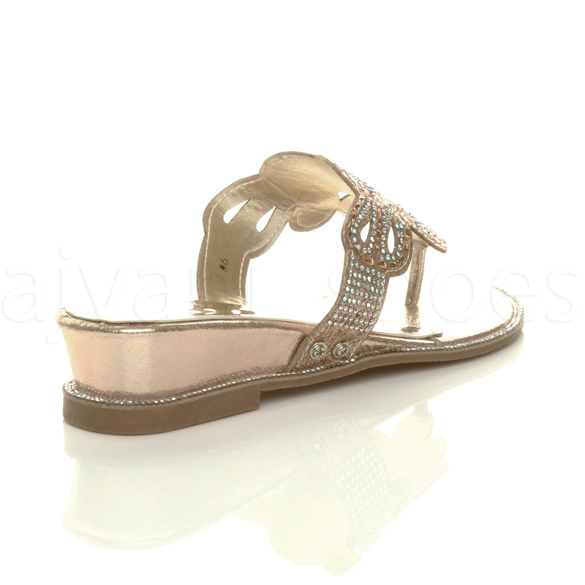 WOMENS-LADIES-LOW-MID-WEDGE-HEEL-DIAMANTE-EVENING-TOE-POST-SANDALS-MULES-SIZE thumbnail 13