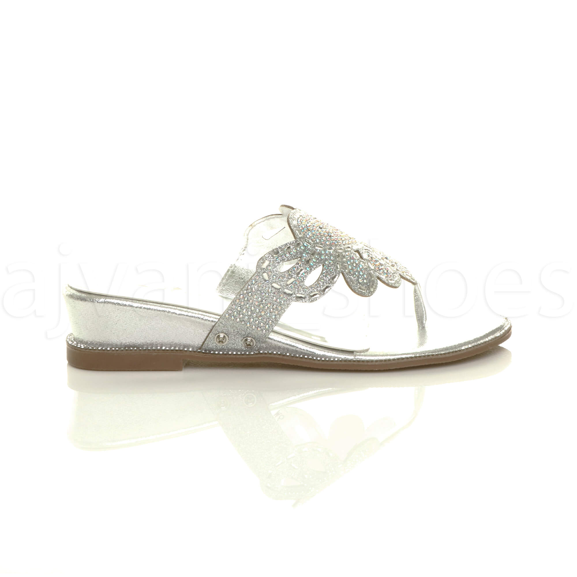 WOMENS-LADIES-LOW-MID-WEDGE-HEEL-DIAMANTE-EVENING-TOE-POST-SANDALS-MULES-SIZE thumbnail 19