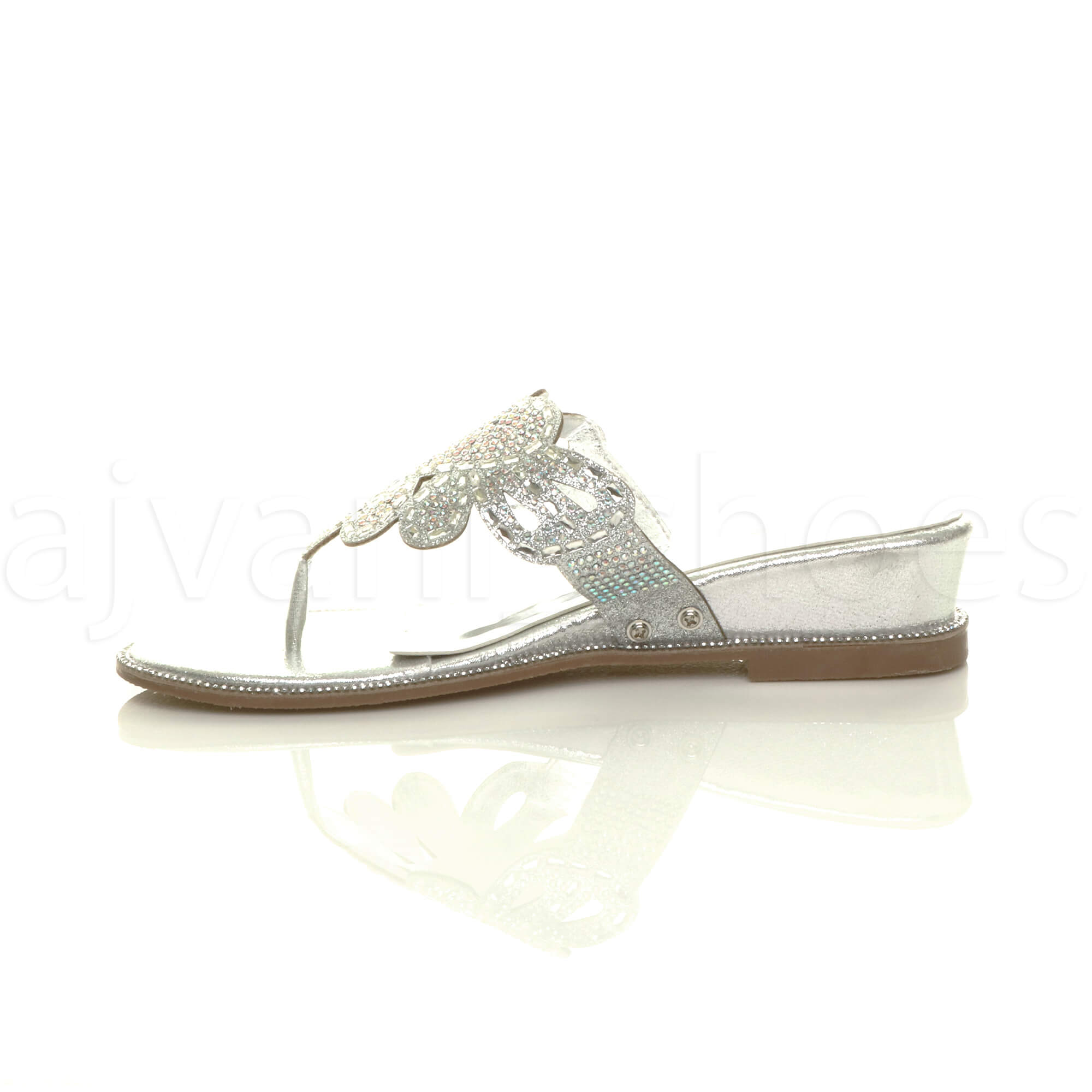 WOMENS-LADIES-LOW-MID-WEDGE-HEEL-DIAMANTE-EVENING-TOE-POST-SANDALS-MULES-SIZE thumbnail 20