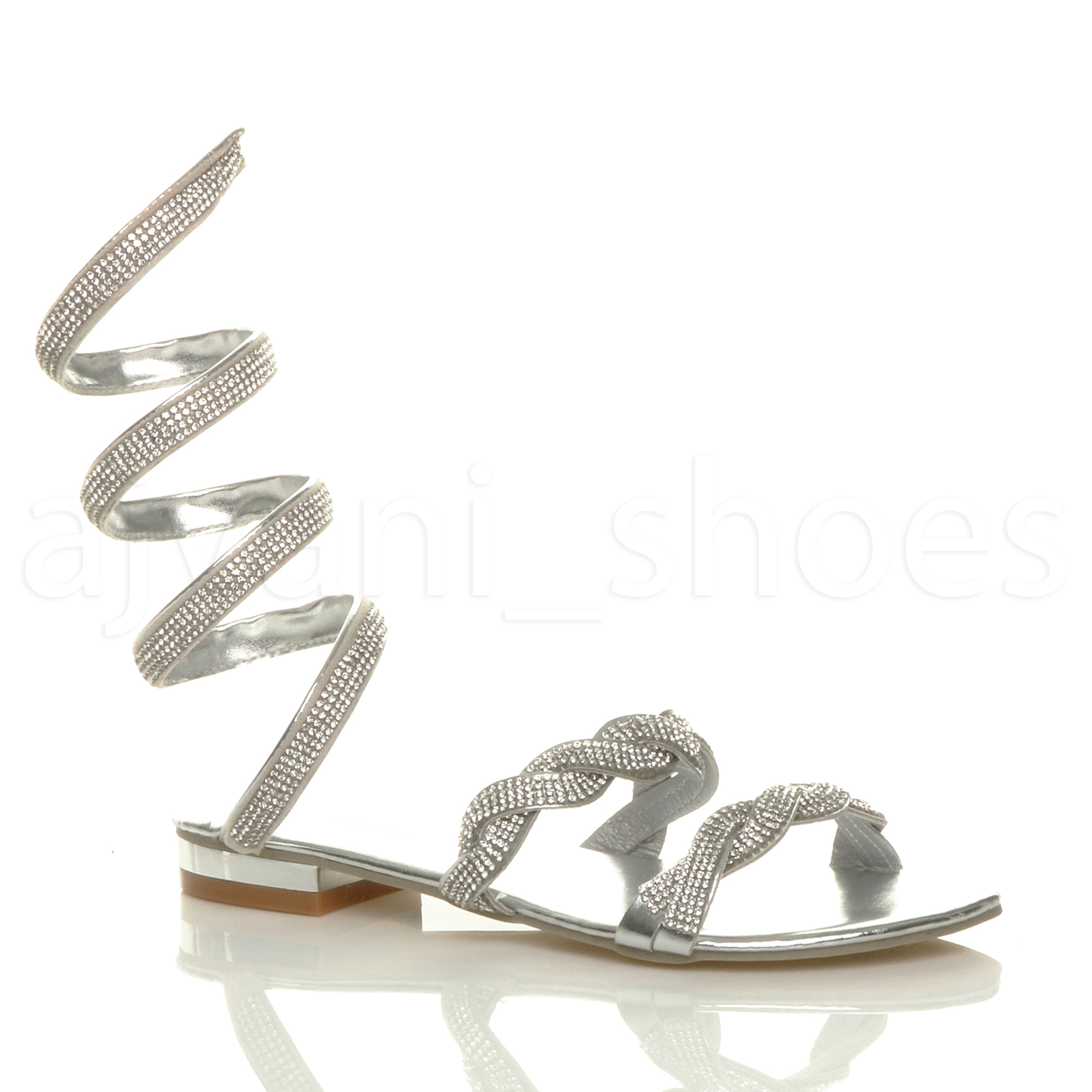 Womens Ladies Low Heel Sparkly Diamante Wrap Around Ankle