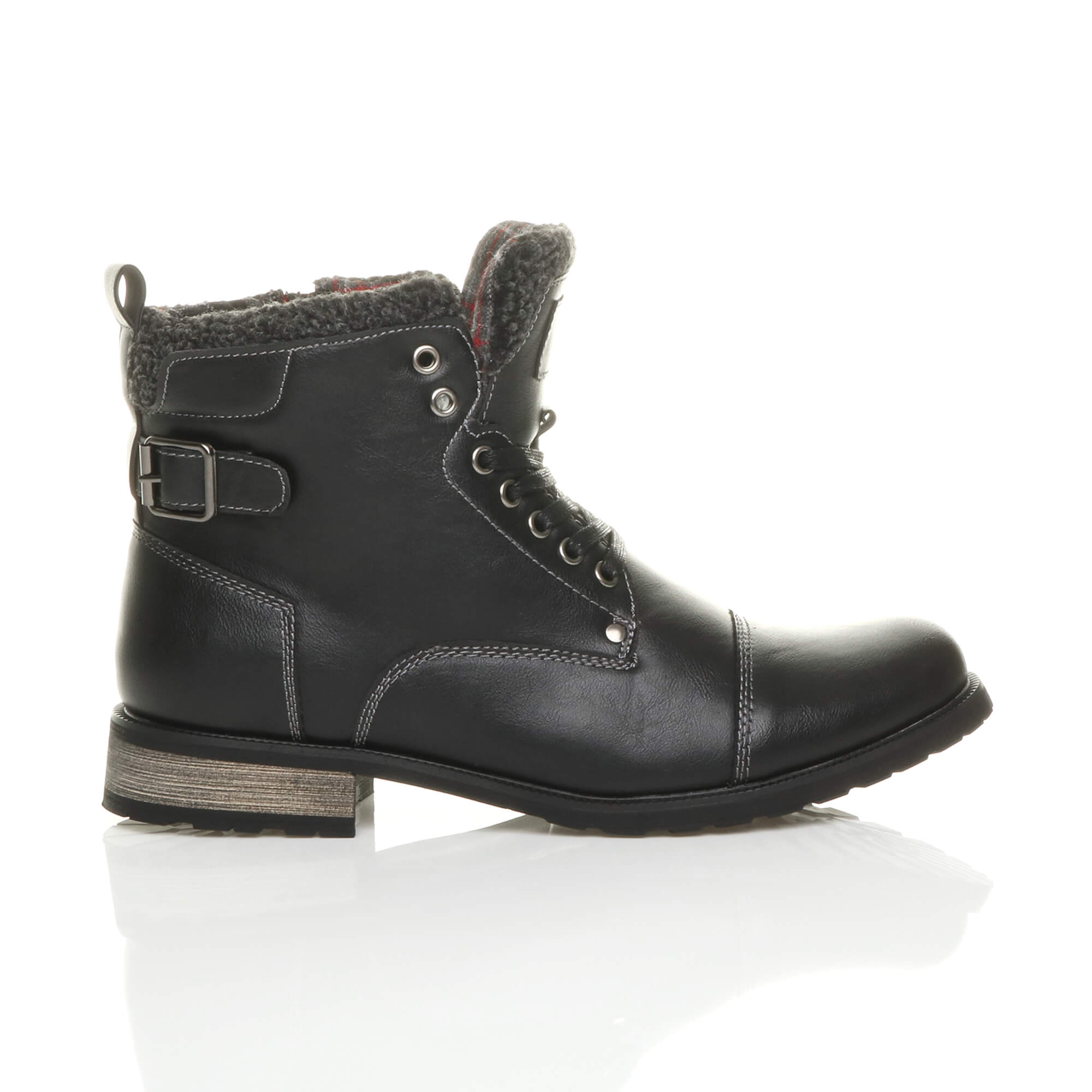 MENS-LACE-UP-ZIP-FUR-TRIM-SMART-WORK-WINTER-ARMY-MILITARY-BIKER-ANKLE-BOOTS-SIZE thumbnail 3