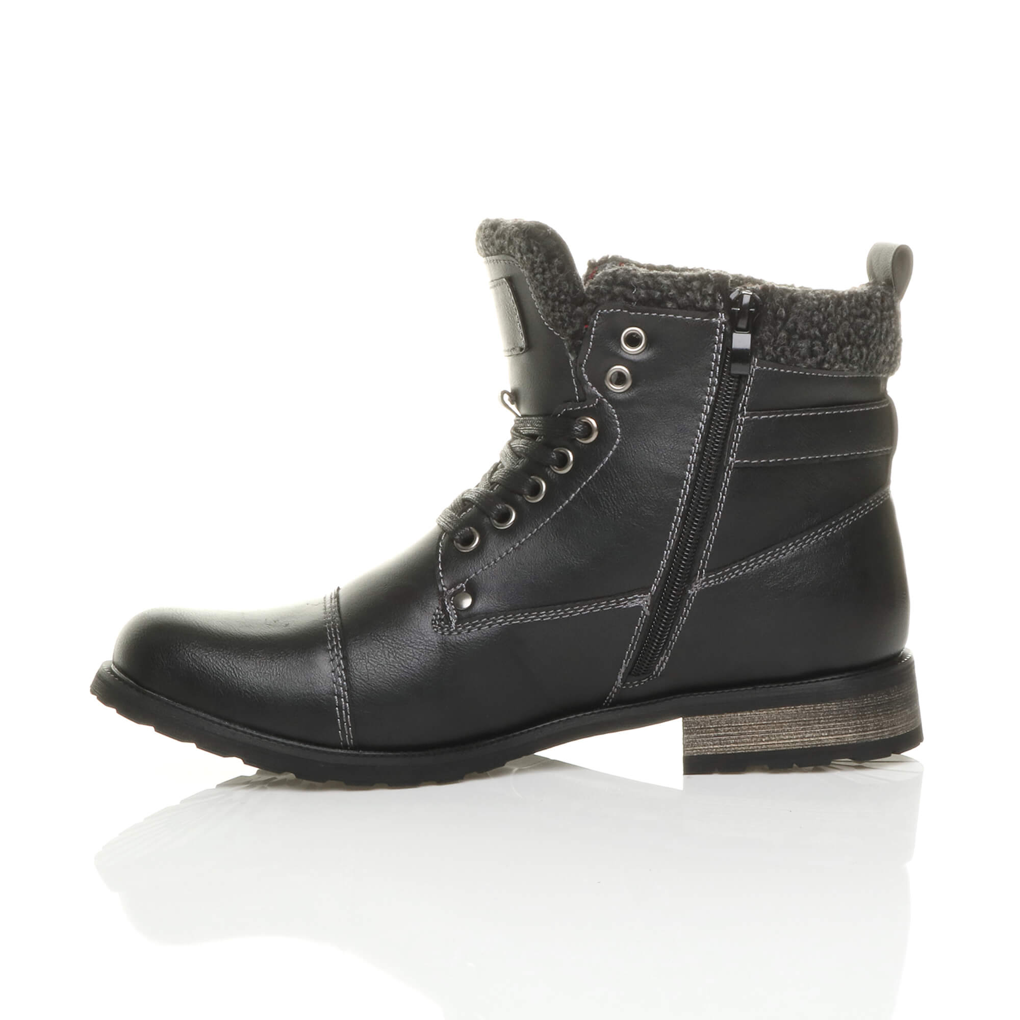 MENS-LACE-UP-ZIP-FUR-TRIM-SMART-WORK-WINTER-ARMY-MILITARY-BIKER-ANKLE-BOOTS-SIZE thumbnail 4