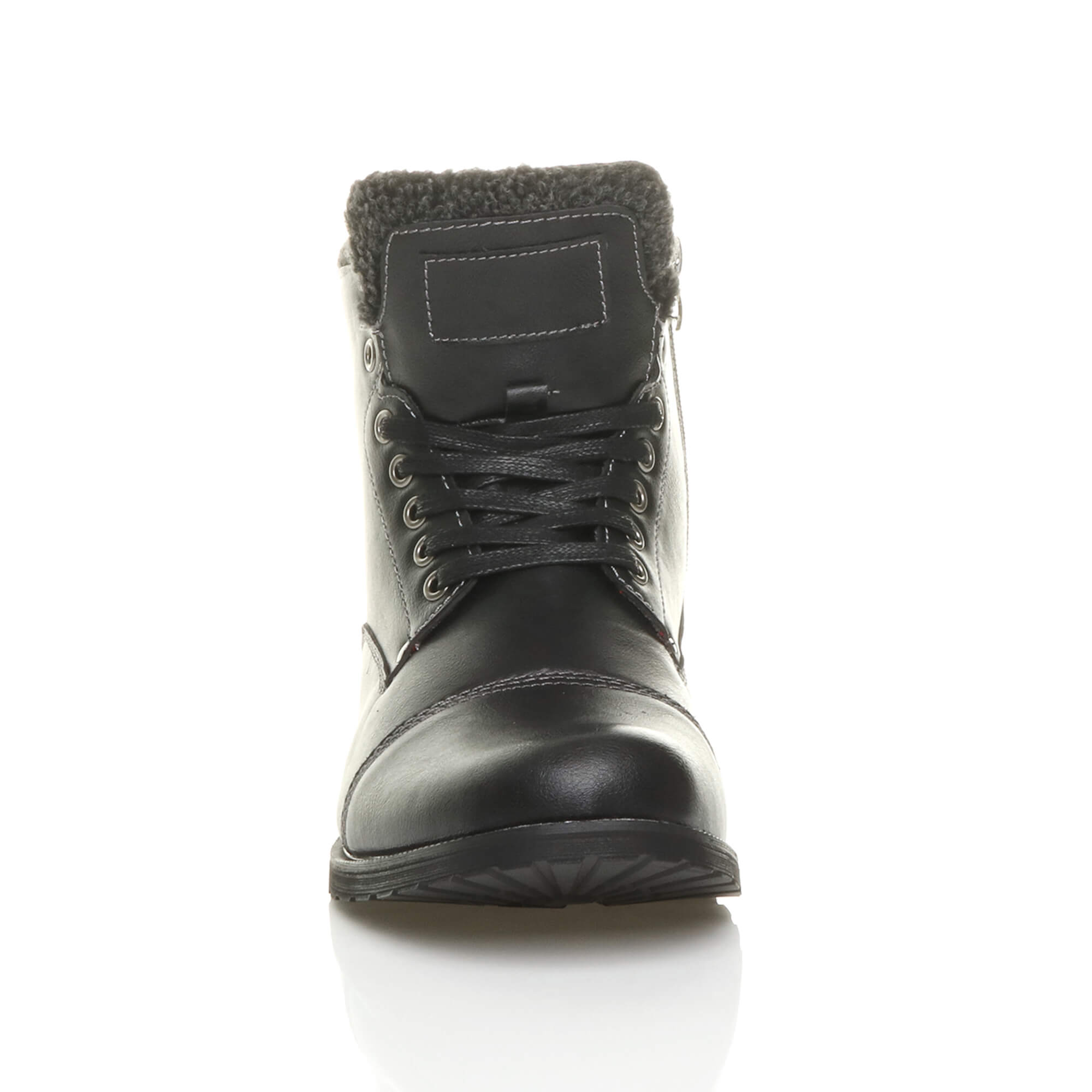 MENS-LACE-UP-ZIP-FUR-TRIM-SMART-WORK-WINTER-ARMY-MILITARY-BIKER-ANKLE-BOOTS-SIZE thumbnail 7