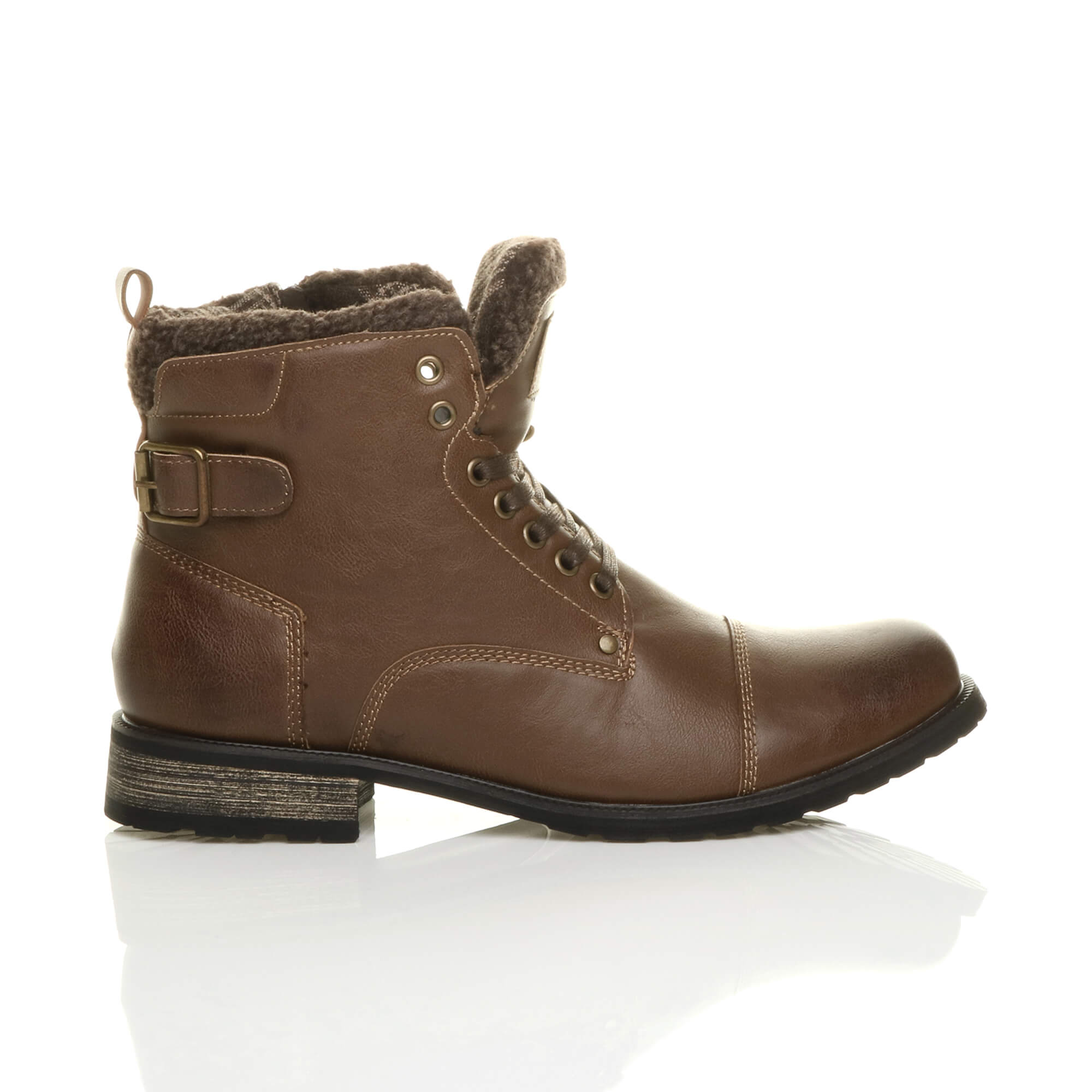 MENS-LACE-UP-ZIP-FUR-TRIM-SMART-WORK-WINTER-ARMY-MILITARY-BIKER-ANKLE-BOOTS-SIZE thumbnail 11