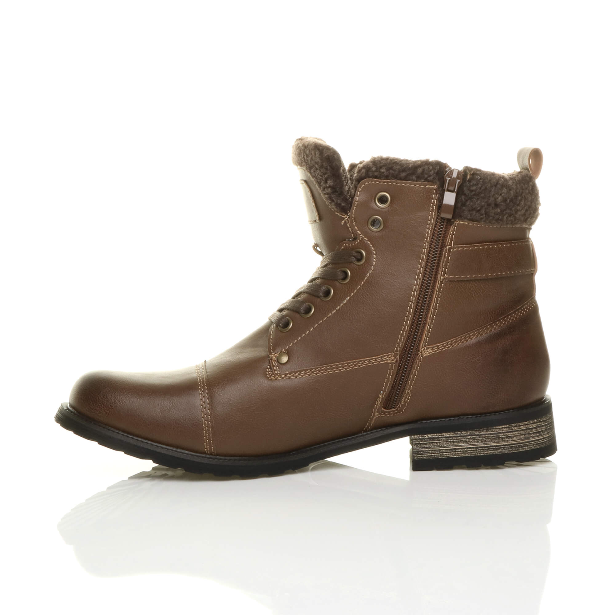 MENS-LACE-UP-ZIP-FUR-TRIM-SMART-WORK-WINTER-ARMY-MILITARY-BIKER-ANKLE-BOOTS-SIZE thumbnail 12