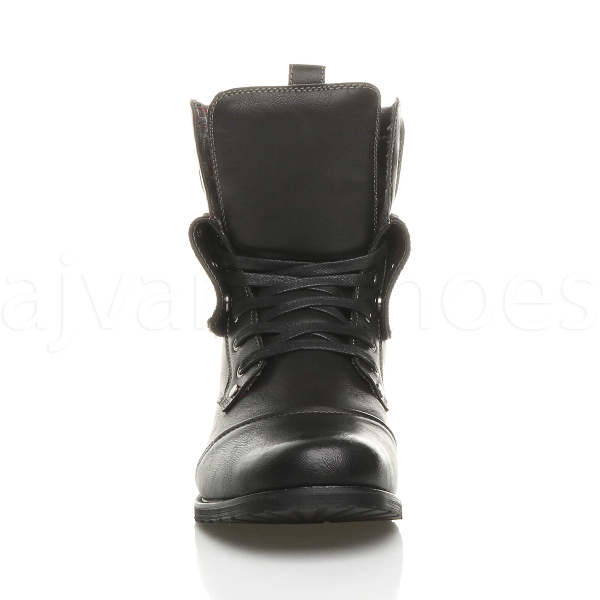 MENS-LACE-UP-LOW-HEEL-FLAT-FOLD-OVER-PADDED-CUFF-MILITARY-ANKLE-BOOTS-SIZE