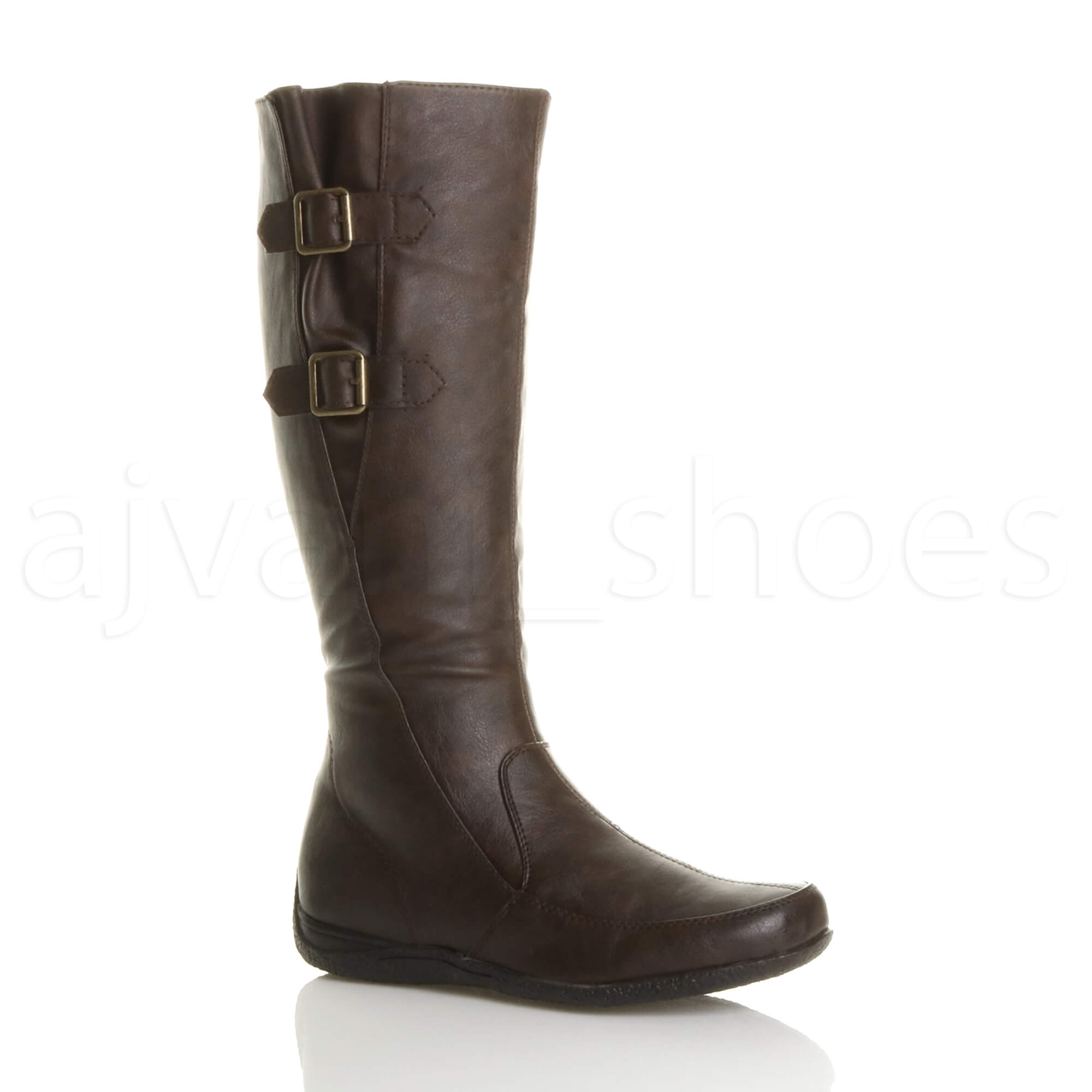 WOMENS-LADIES-LOW-HEEL-CONCEALED-WEDGE-WINTER-BUCKLE-STRETCH-ZIP-CALF-BOOTS-SIZE