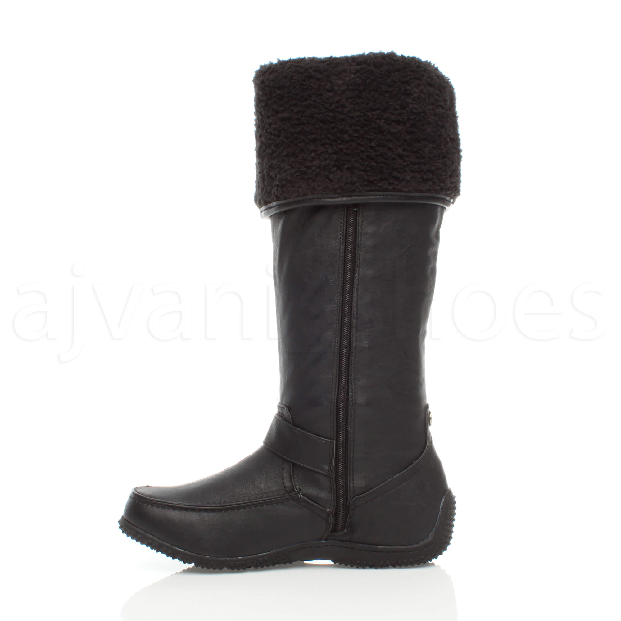 WOMENS-LADIES-GRIP-SOLE-WINTER-FUR-LINING-FOLDOVER-ZIP-CALF-FLAT-KNEE-BOOTS-SIZE