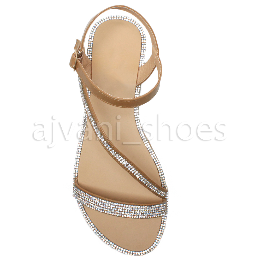 WOMENS-LADIES-FLAT-STRAPPY-BUCKLE-DIAMANTE-TRIM-SUMMER-EVENING-SANDALS-SIZE