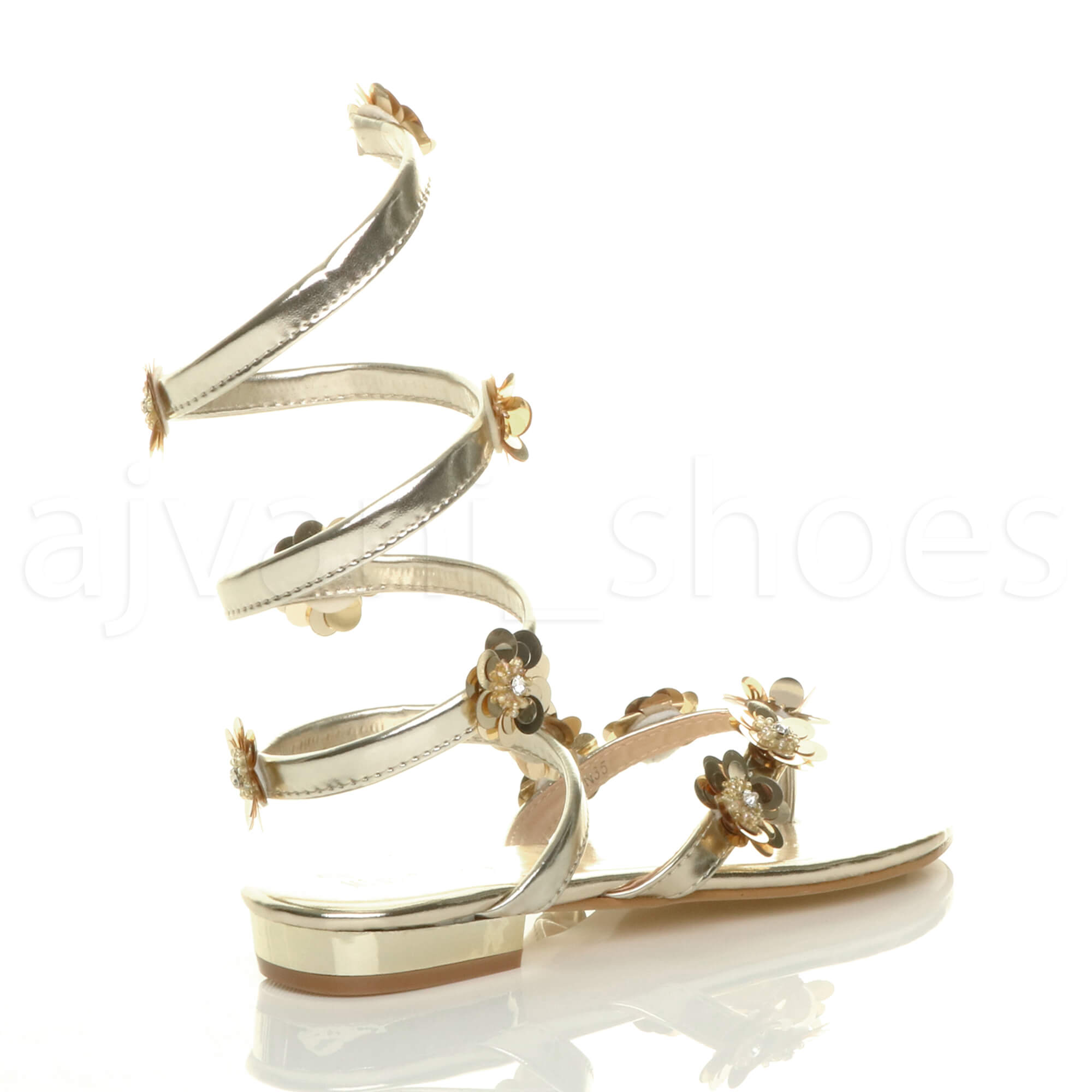 Damen Flach Blume Diamant Umwickeln Zehentrenner Sandalen Flip Flops Größe 7 40 sOGCXqWbaG