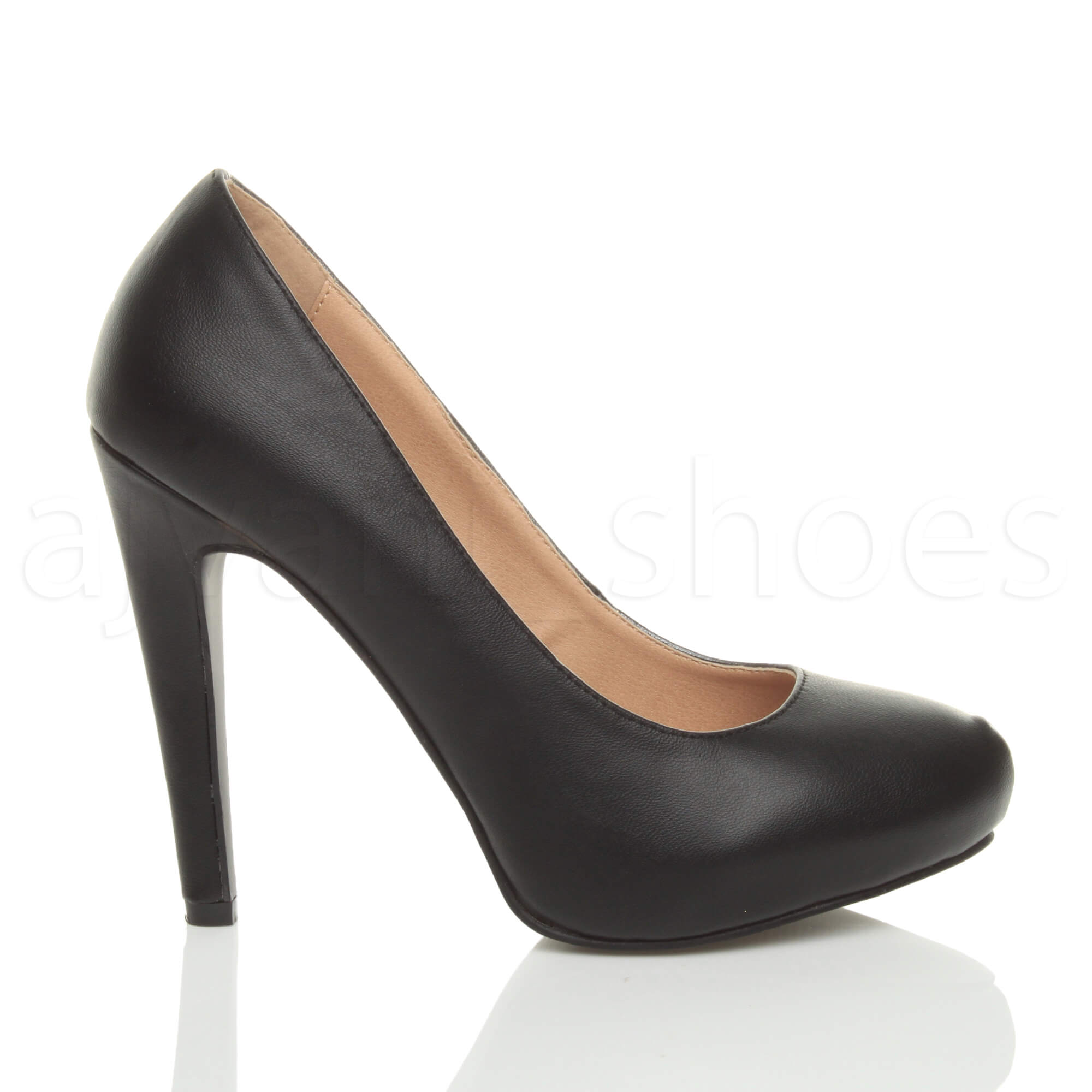 WOMENS-LADIES-HIGH-HEEL-CONCEALED-PLATFORM-COURT-SHOES-PARTY-PROM-PUMPS-SIZE thumbnail 3