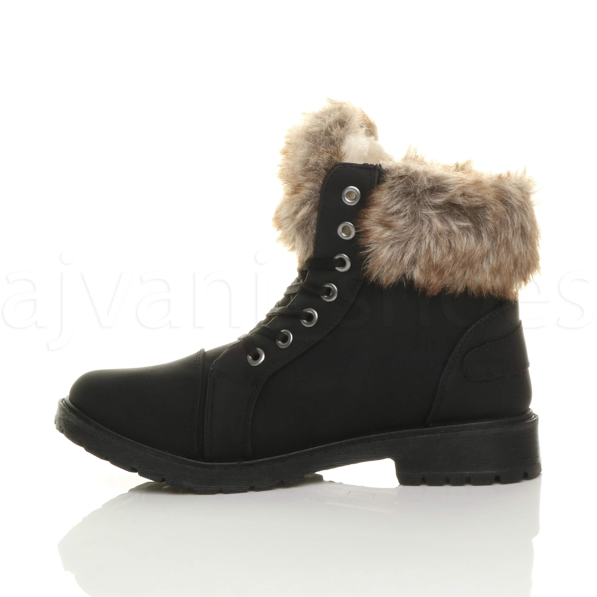 WOMENS LADIES FUR LINING CUFF FLAT WALKING LACE UP BIKER ANKLE SHOES BOOTS SIZE