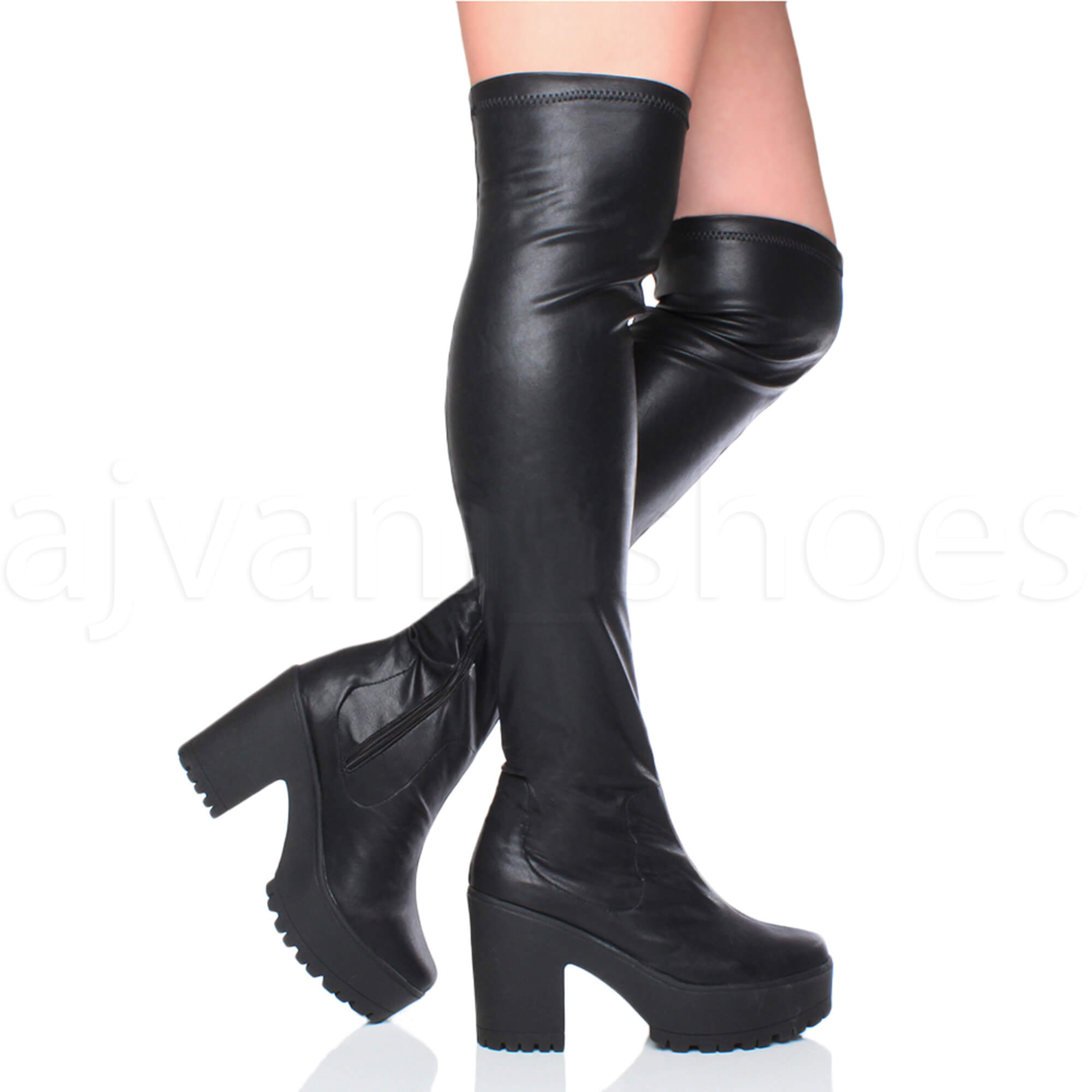 63ec0f87ddd WOMENS LADIES OVER THE KNEE THIGH HIGH CHUNKY PLATFORM HEEL STRETCH ...