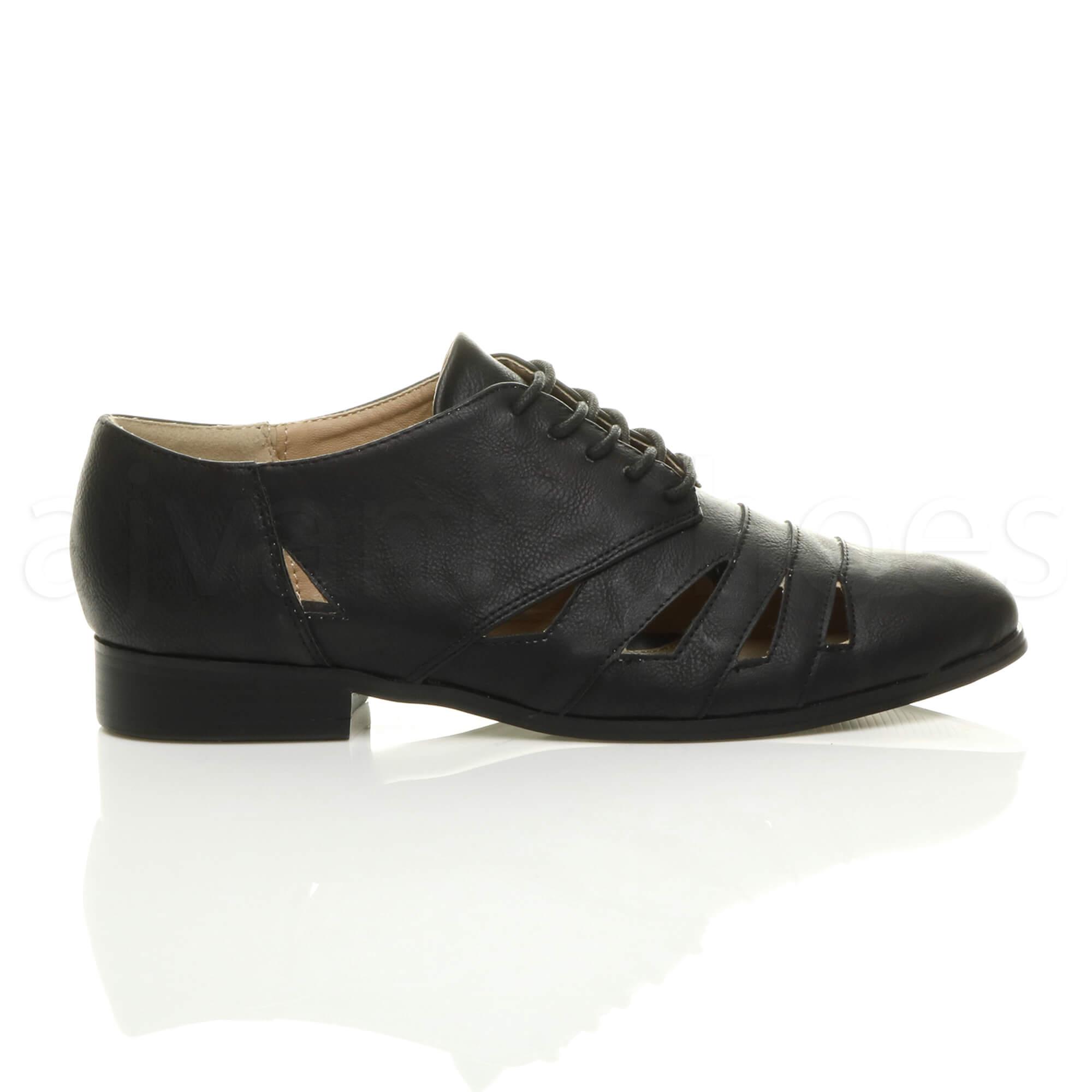 Black Flat Front Lace Up Shoes