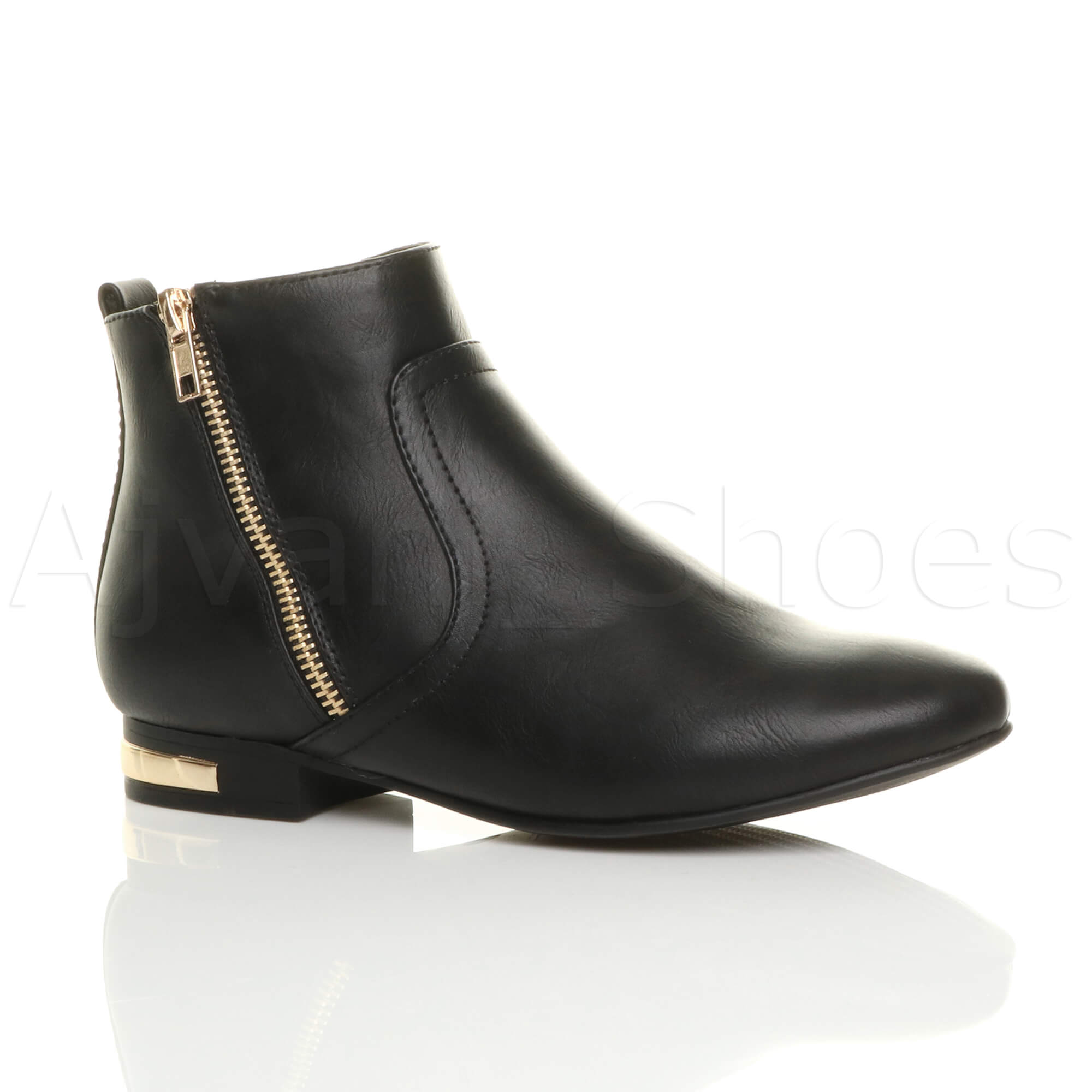 WOMENS LADIES LOW HEEL GOLD ZIP CONTRAST RIDING PIXIE ANKLE BOOTS BOOTIES SIZE