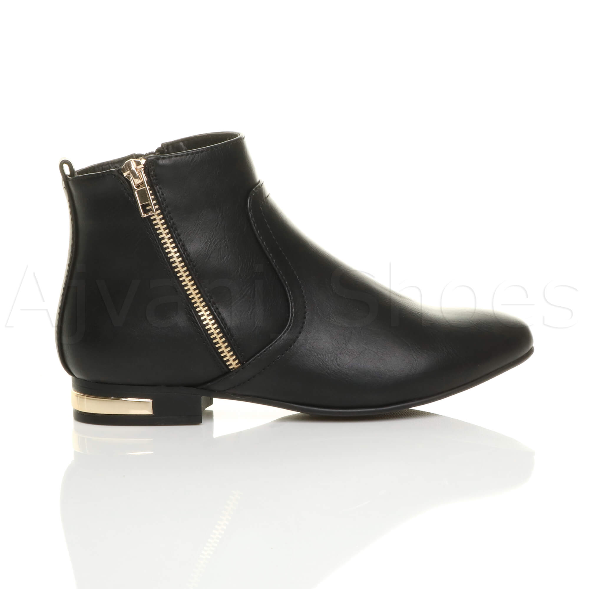 WOMENS-LADIES-LOW-HEEL-GOLD-ZIP-CONTRAST-RIDING-PIXIE-ANKLE-BOOTS-BOOTIES-SIZE thumbnail 3