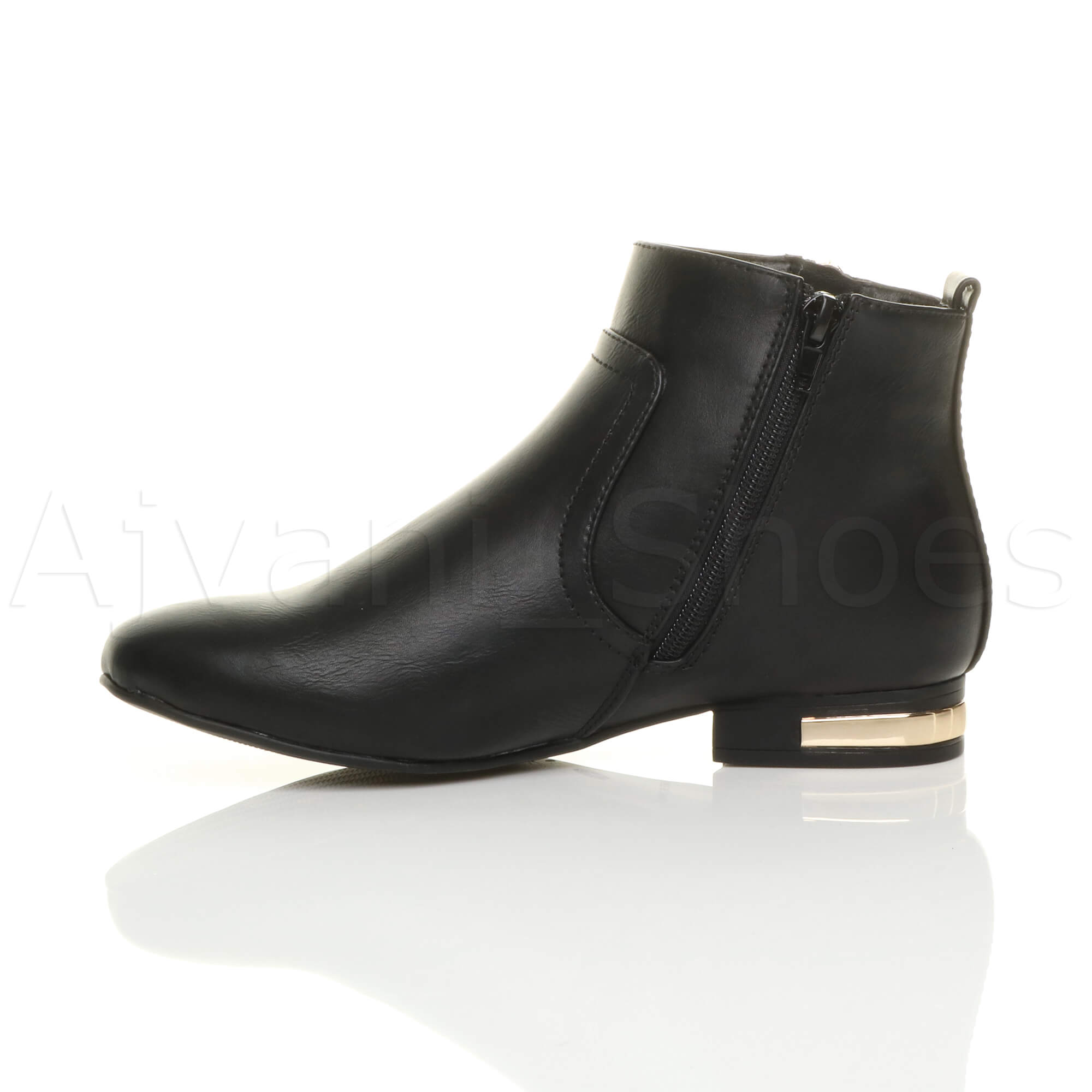 WOMENS-LADIES-LOW-HEEL-GOLD-ZIP-CONTRAST-RIDING-PIXIE-ANKLE-BOOTS-BOOTIES-SIZE thumbnail 4