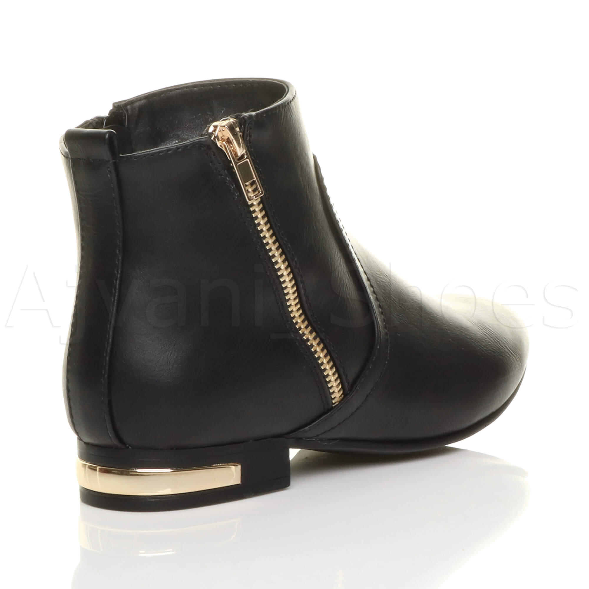 WOMENS-LADIES-LOW-HEEL-GOLD-ZIP-CONTRAST-RIDING-PIXIE-ANKLE-BOOTS-BOOTIES-SIZE thumbnail 5