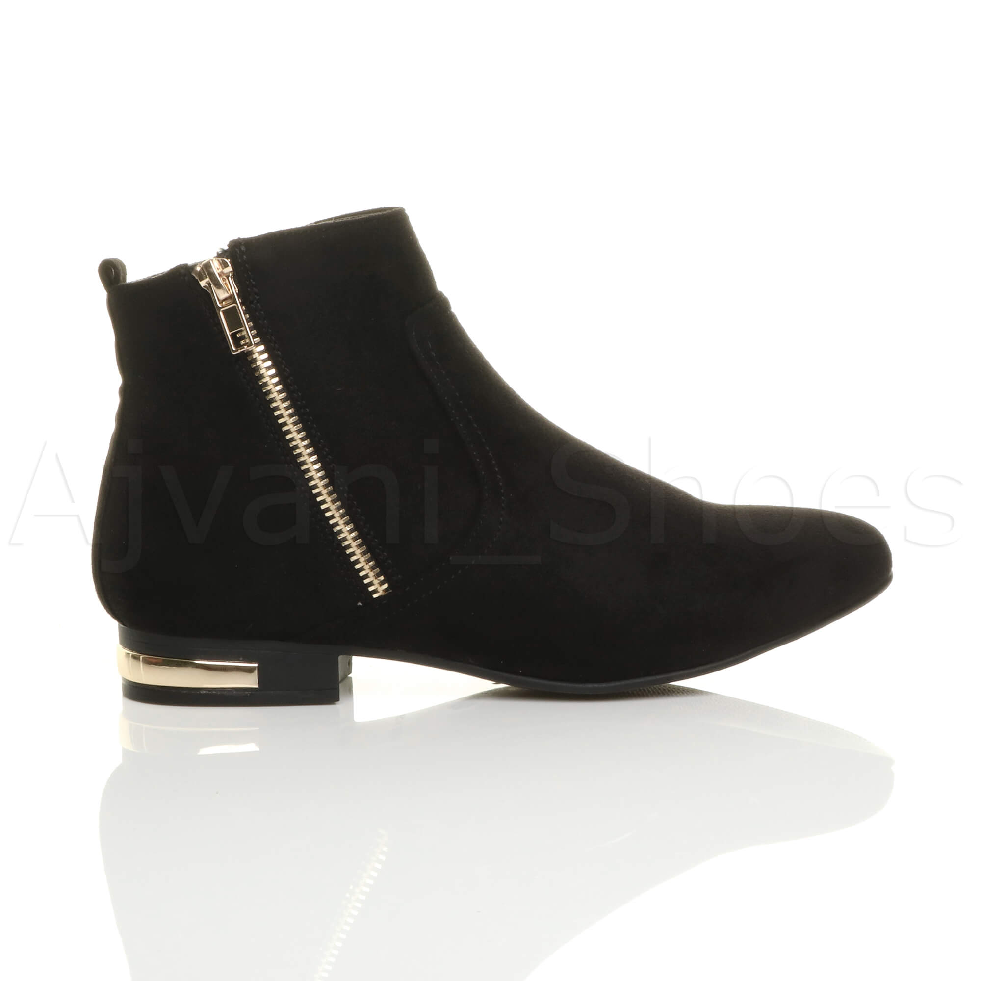 WOMENS-LADIES-LOW-HEEL-GOLD-ZIP-CONTRAST-RIDING-PIXIE-ANKLE-BOOTS-BOOTIES-SIZE thumbnail 11