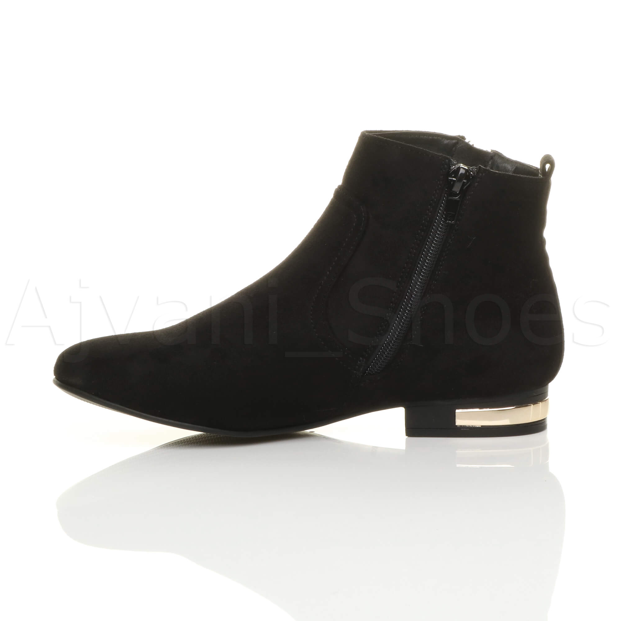 WOMENS-LADIES-LOW-HEEL-GOLD-ZIP-CONTRAST-RIDING-PIXIE-ANKLE-BOOTS-BOOTIES-SIZE thumbnail 12