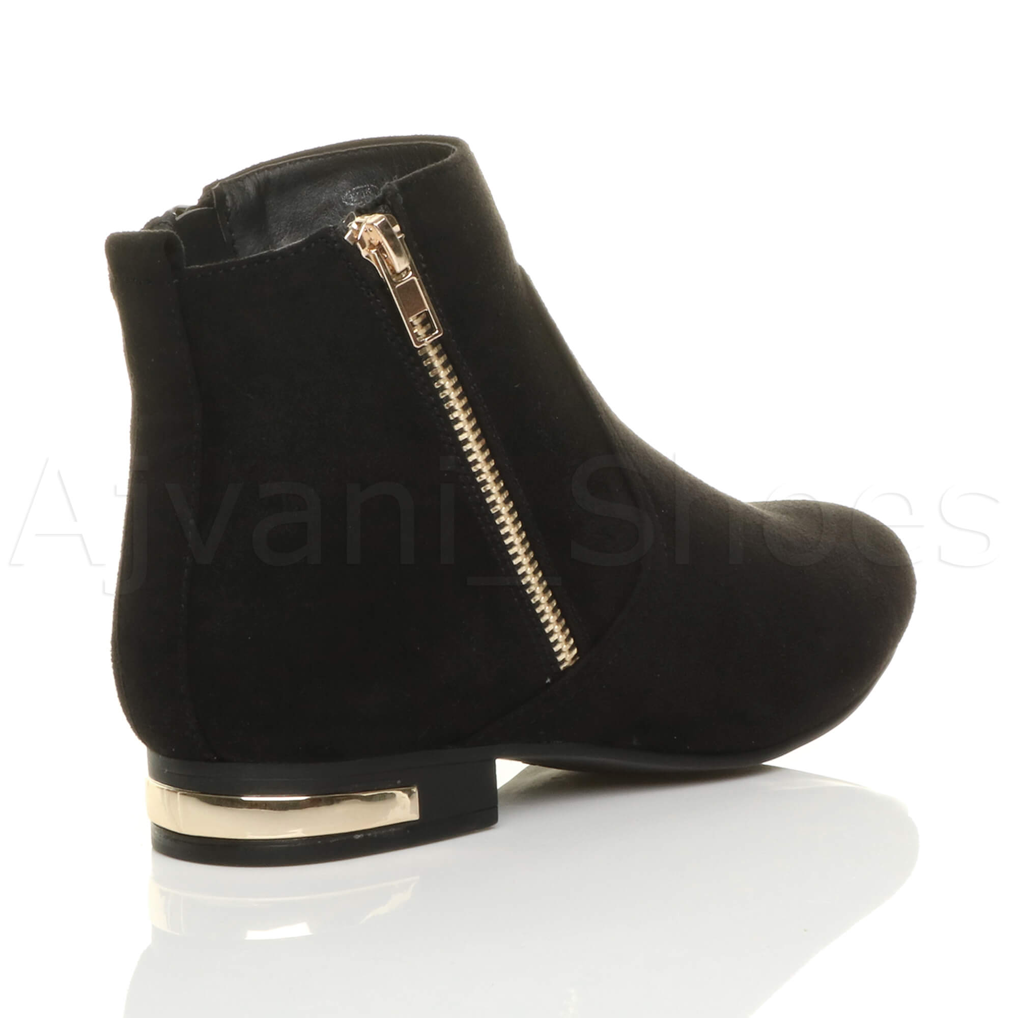 WOMENS-LADIES-LOW-HEEL-GOLD-ZIP-CONTRAST-RIDING-PIXIE-ANKLE-BOOTS-BOOTIES-SIZE thumbnail 13