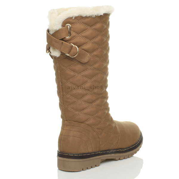 WOMENS-LADIES-GIRLS-FLAT-HIGH-CALF-KNEE-QUILTED-FUR-LINED-WINTER-SNOW-BOOTS-SIZE