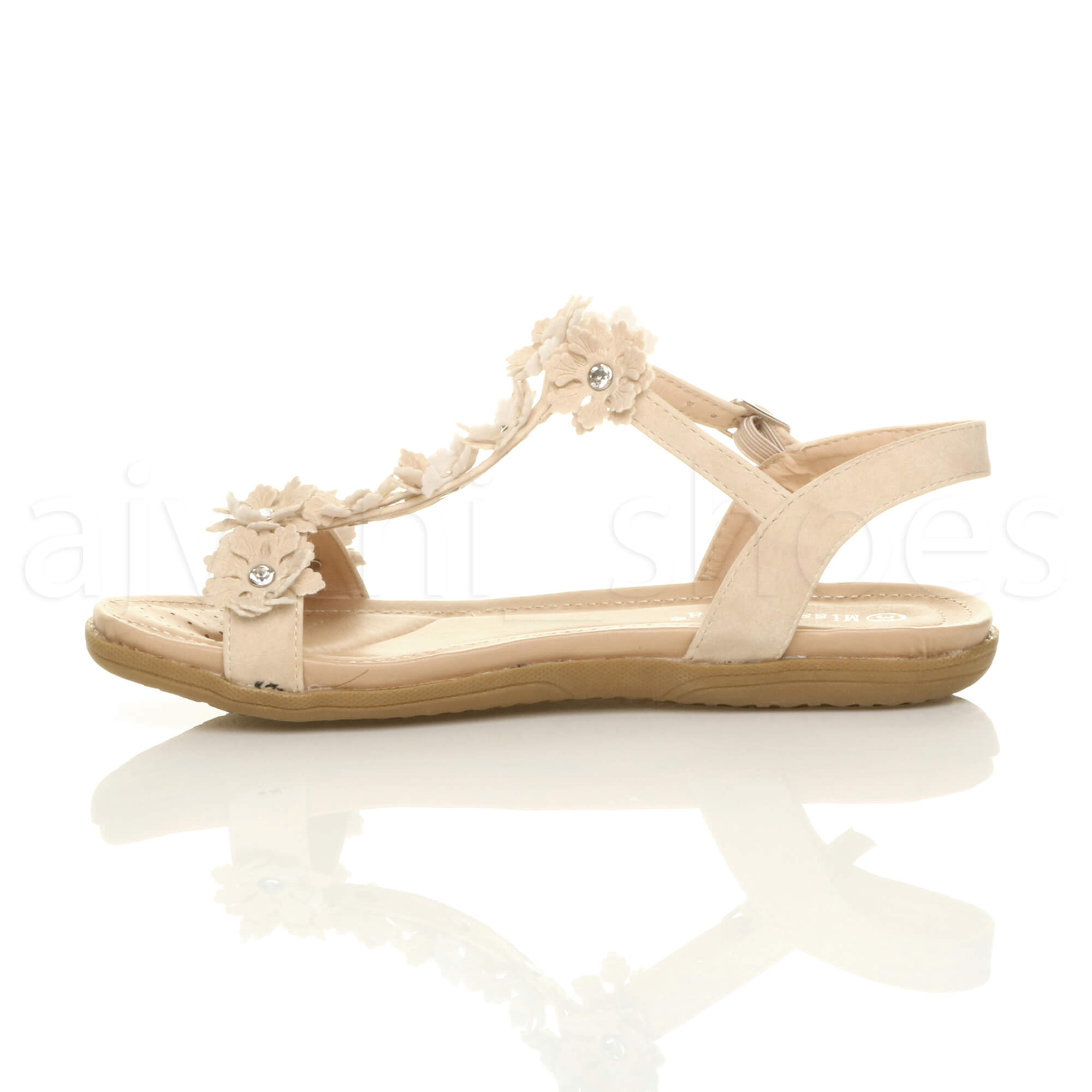 WOMENS-LADIES-FLAT-PADDED-COMFORT-T-BAR-BUCKLE-FLOWER-DIAMANTE-SANDALS-SIZE