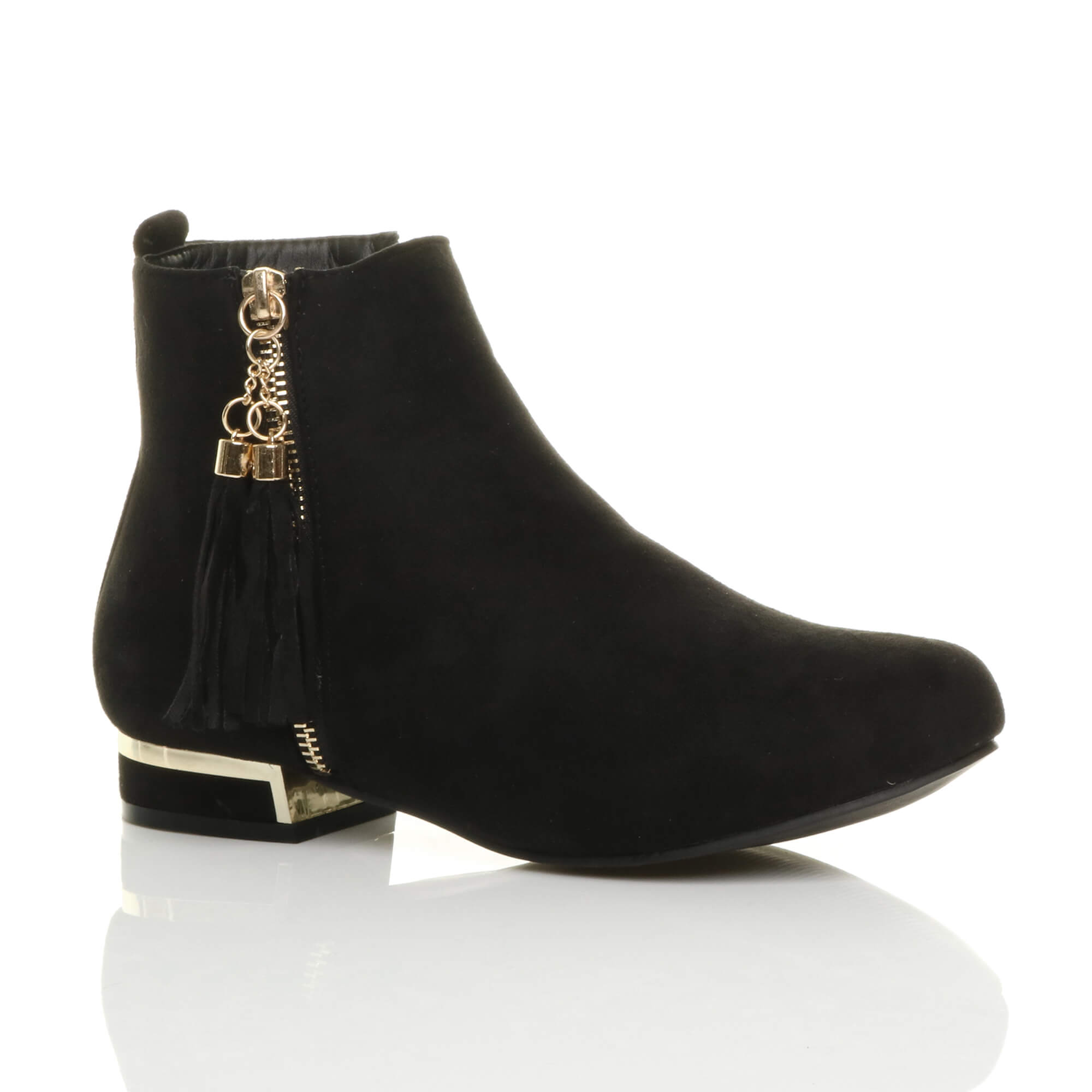 Women's Low Heel Gold Zip Ankle Boots Size