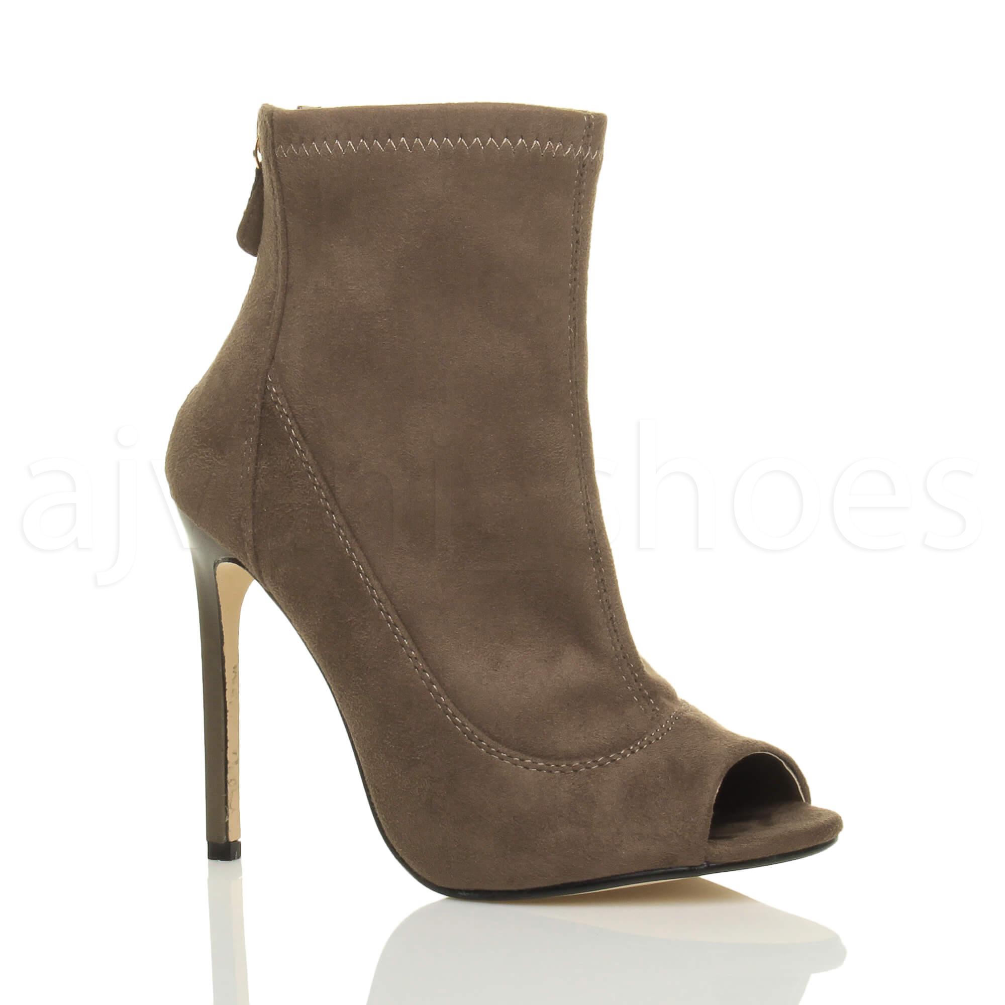 Damen Hohe Stiletto-Bbsatz Peep Toe Reißverschluss Stiefeletten Sandalen Größe