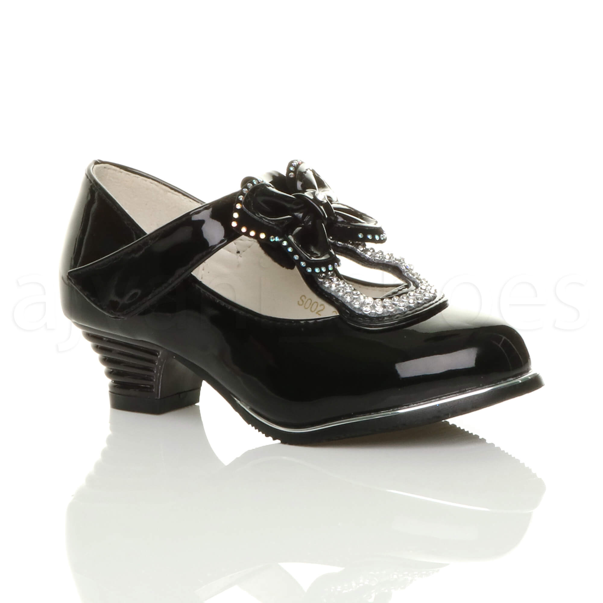 GIRLS-KIDS-CHILDRENS-LOW-HEEL-T-BAR-BUTTERFLY-BOW-DIAMANTE-MARY-JANE-SHOES-SIZE