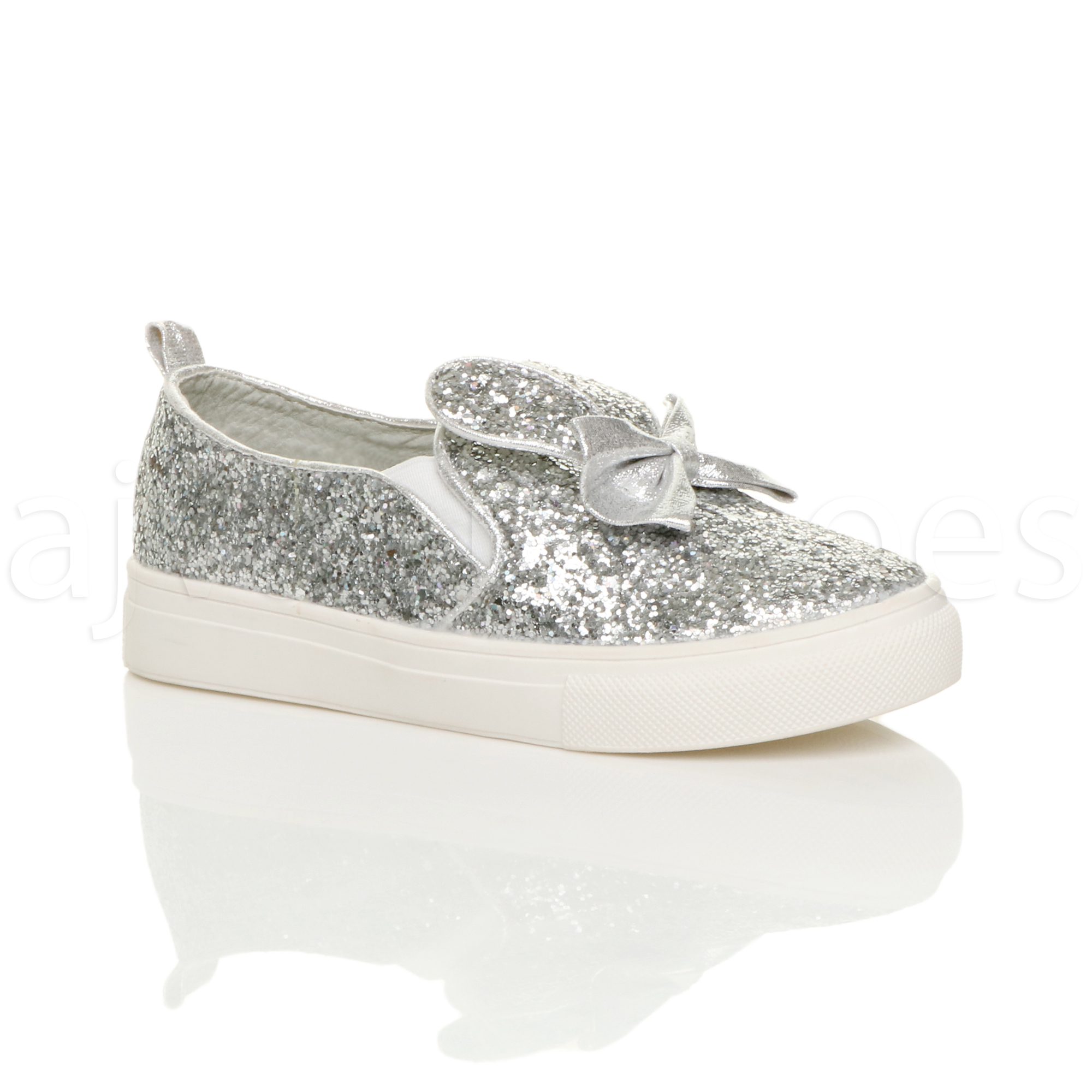 GIRLS-KIDS-CHILDRENS-FLAT-GLITTER-BOW-BUNNY-EARS-SLIP-ON-PLIMSOLES-PUMPS-SIZE