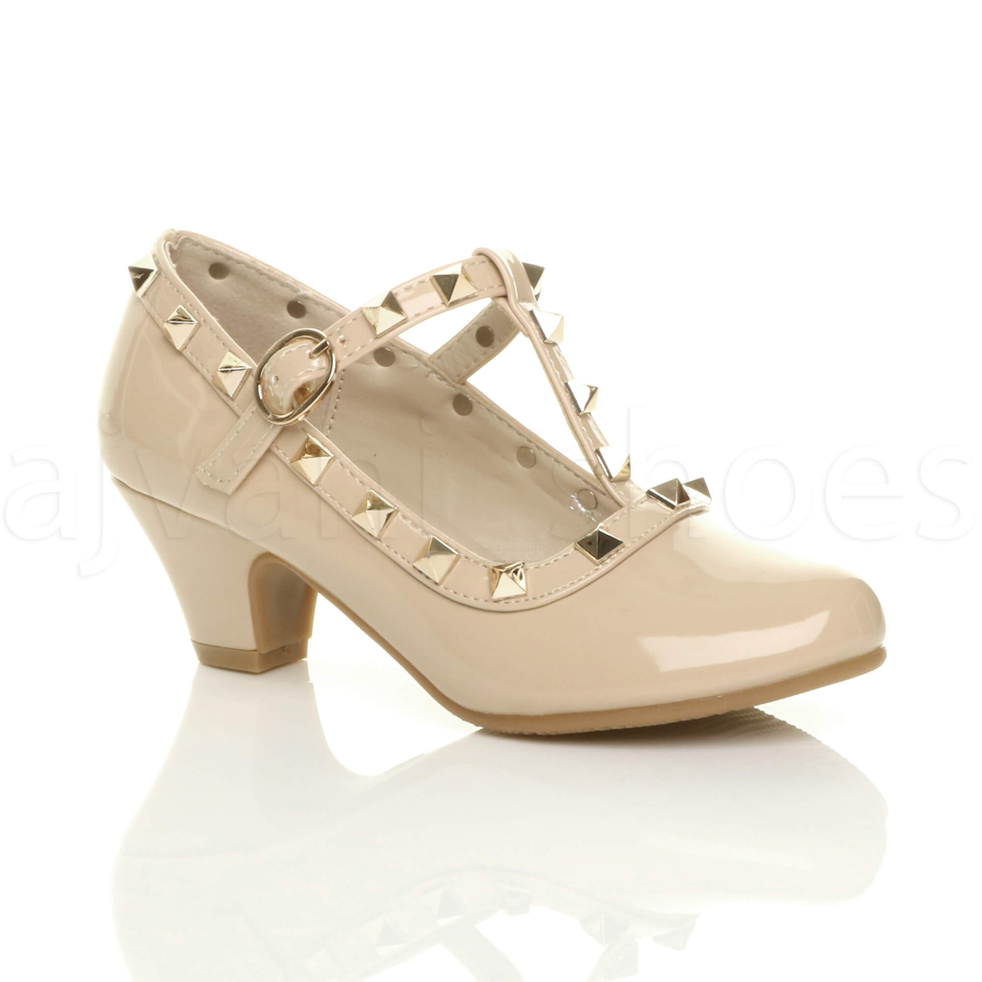 GIRLS-KIDS-CHILDRENS-LOW-MID-HEEL-STUDDED-T-BAR-MARY-JANE-PARTY-COURT-SHOES-SIZE