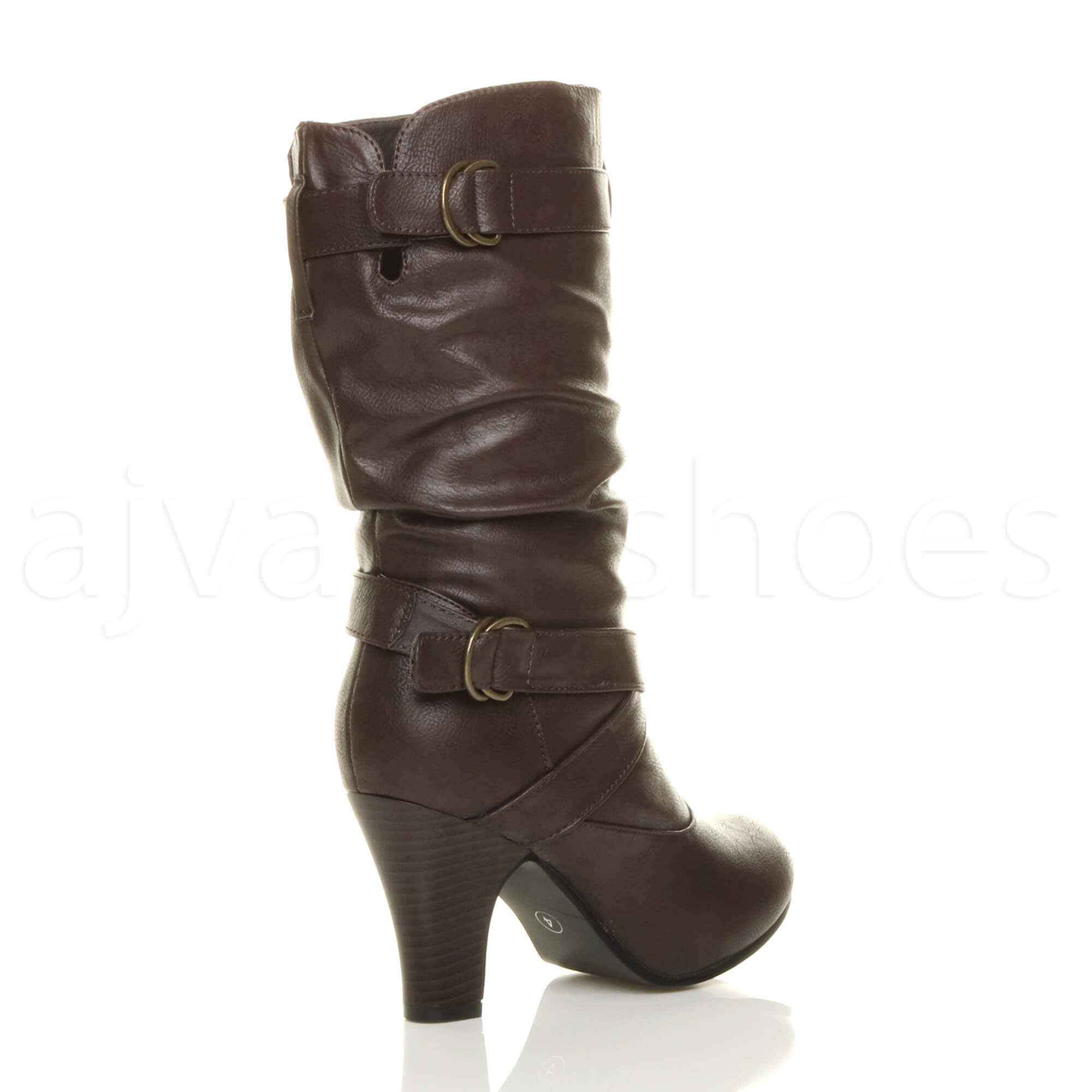 8b2e414833d0 WOMENS LADIES BUCKLE BLOCK MID HIGH HEEL ZIP RUCHED SLOUCH CALF ...