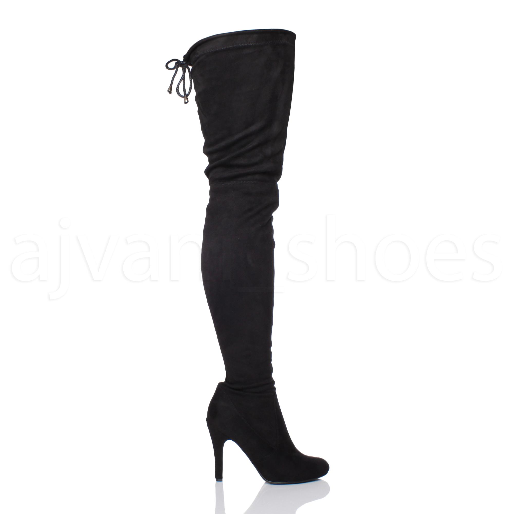 Bottes-Femmes-Talon-Haut-Fermeture-Eclair-Stretch-Cuissardes-Tie-Up-cuissardes-taille miniature 3