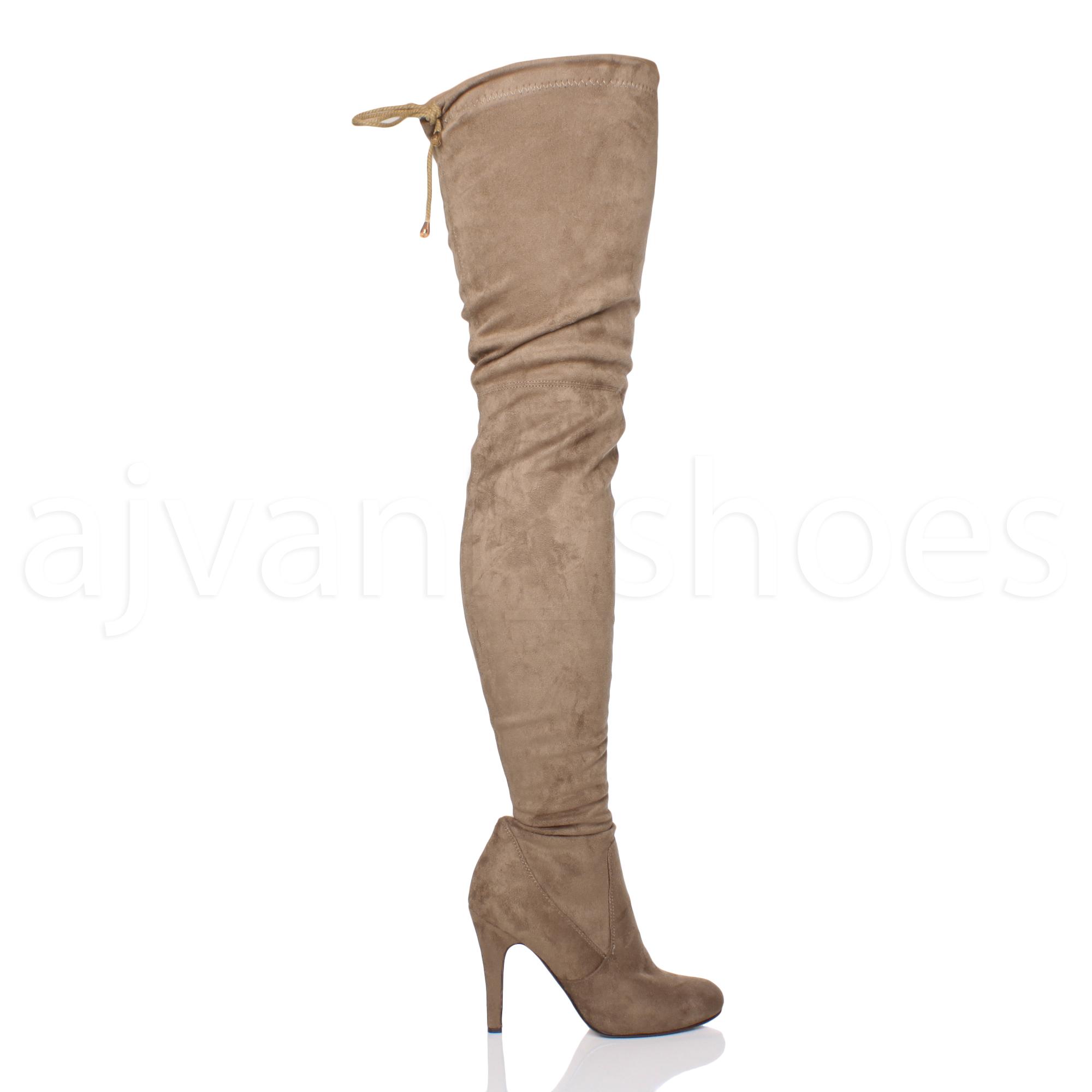 Bottes-Femmes-Talon-Haut-Fermeture-Eclair-Stretch-Cuissardes-Tie-Up-cuissardes-taille miniature 6
