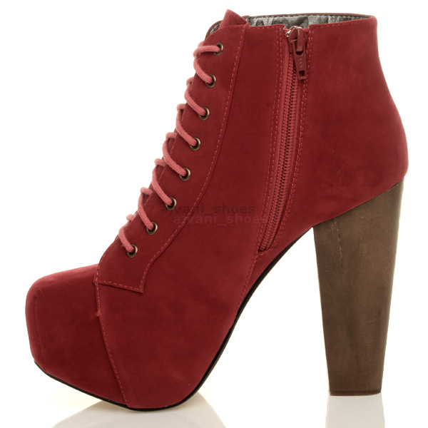 79260c2e324 WOMENS LADIES LACE UP PLATFORM WOODEN BLOCK HIGH HEEL BOOTIES ANKLE ...